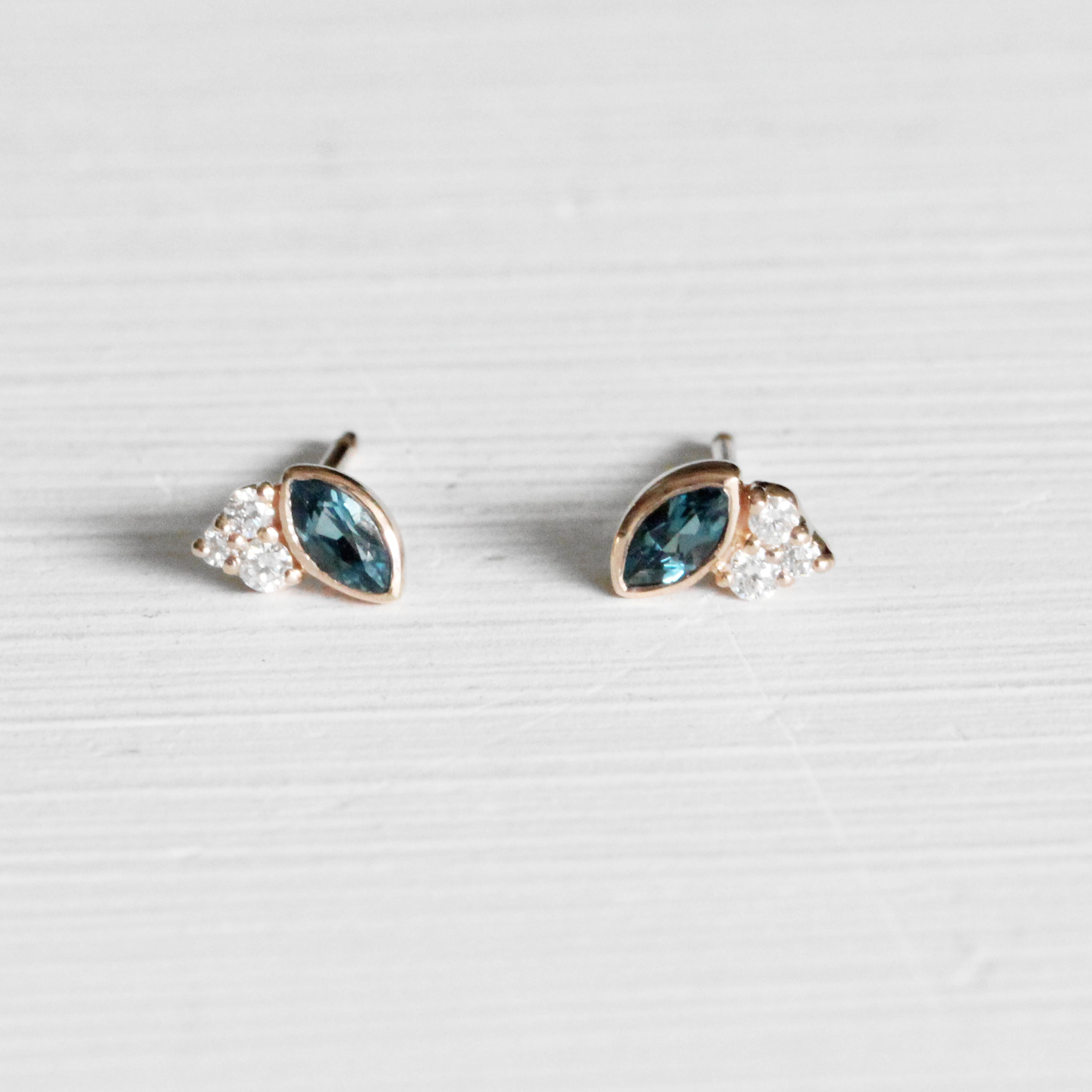 Jolean Earrings with London Blue Topaz + Diamonds - Your Choice of Gold - Celestial Diamonds ® by Midwinter Co.
