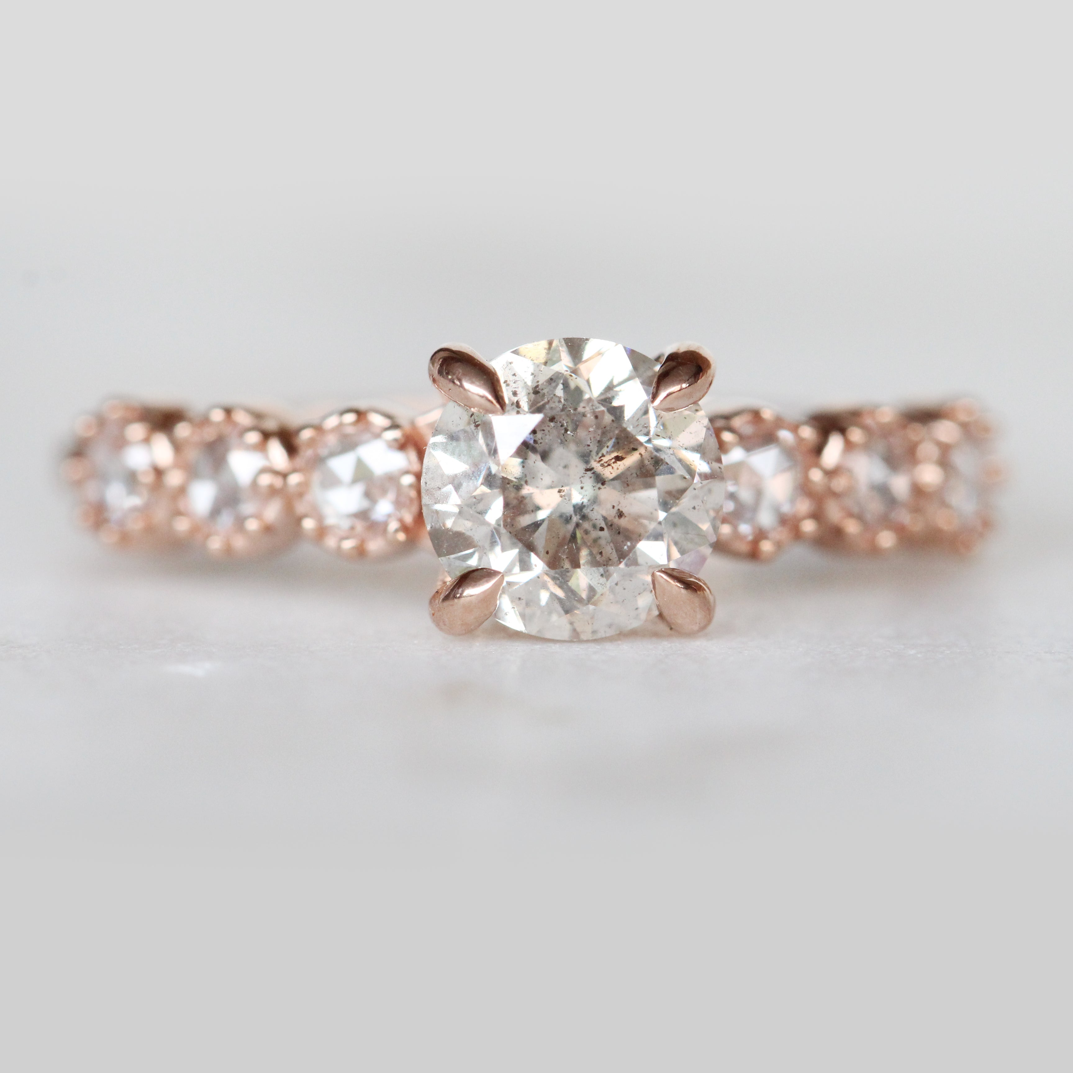 Rudy ring with 1 carat round white secretly celestial diamond in 14k rose gold and rose cut diamond bezel milgrain accents- ready to size and ship - Salt & Pepper Celestial Diamond Engagement Rings and Wedding Bands  by Midwinter Co.