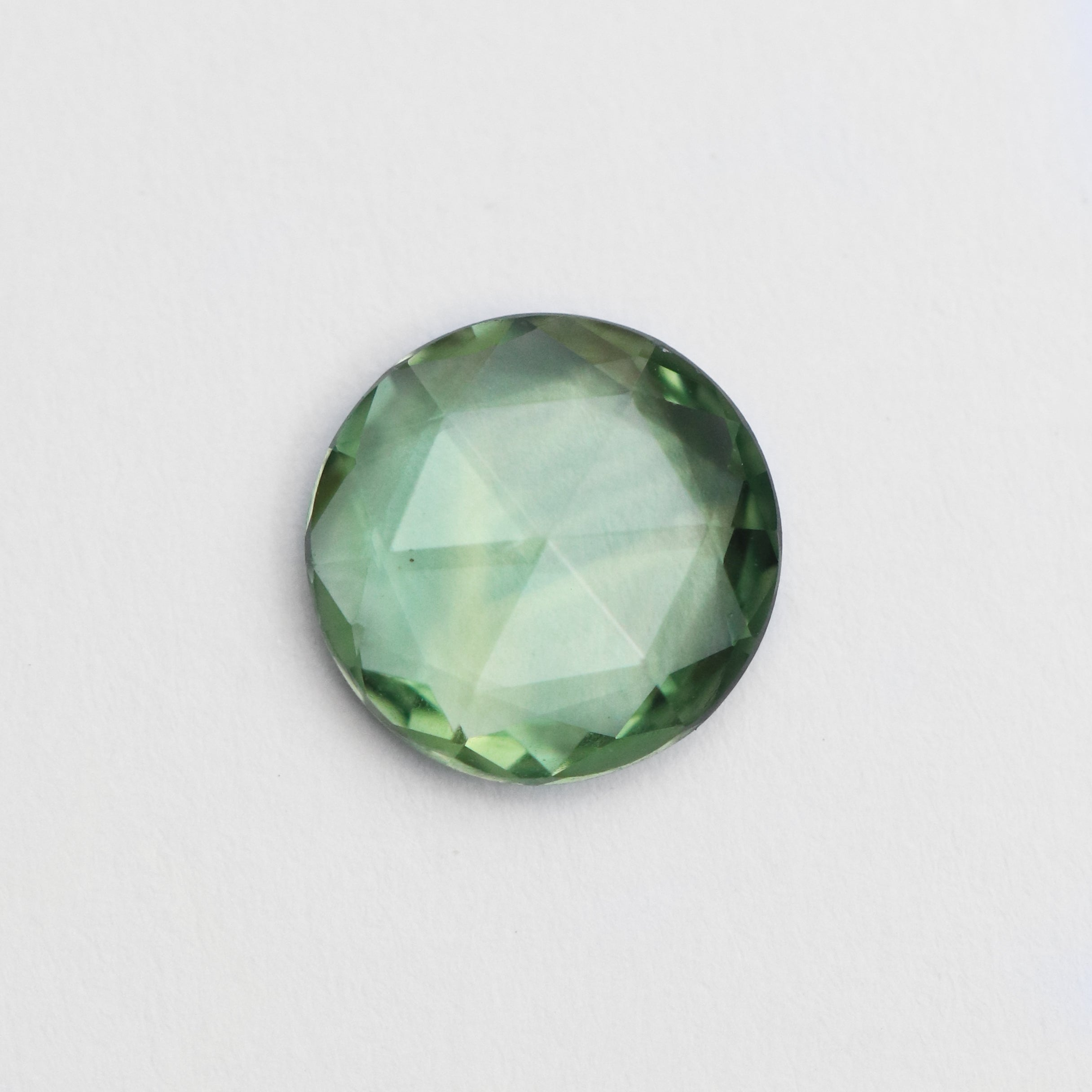 1.19 carat round rose cut green teal Sapphire - inventory code: GRSA119 - Salt & Pepper Celestial Diamond Engagement Rings and Wedding Bands  by Midwinter Co.