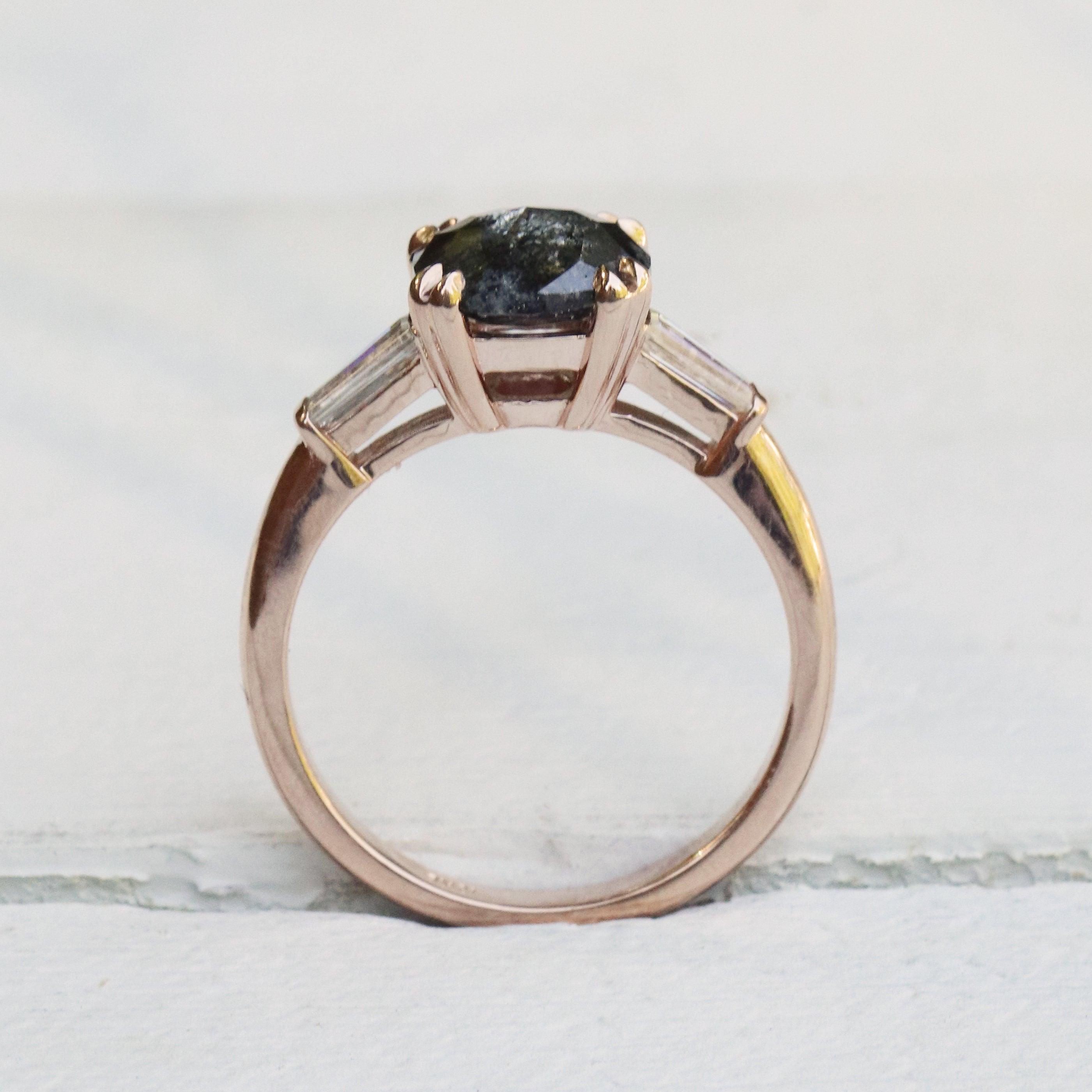 samantha - Mali ring with 2.3 carat Celestial Diamond and Moissanite Baguettes in 10k Rose Gold - Ready to Size and Ship - Salt & Pepper Celestial Diamond Engagement Rings and Wedding Bands  by Midwinter Co.