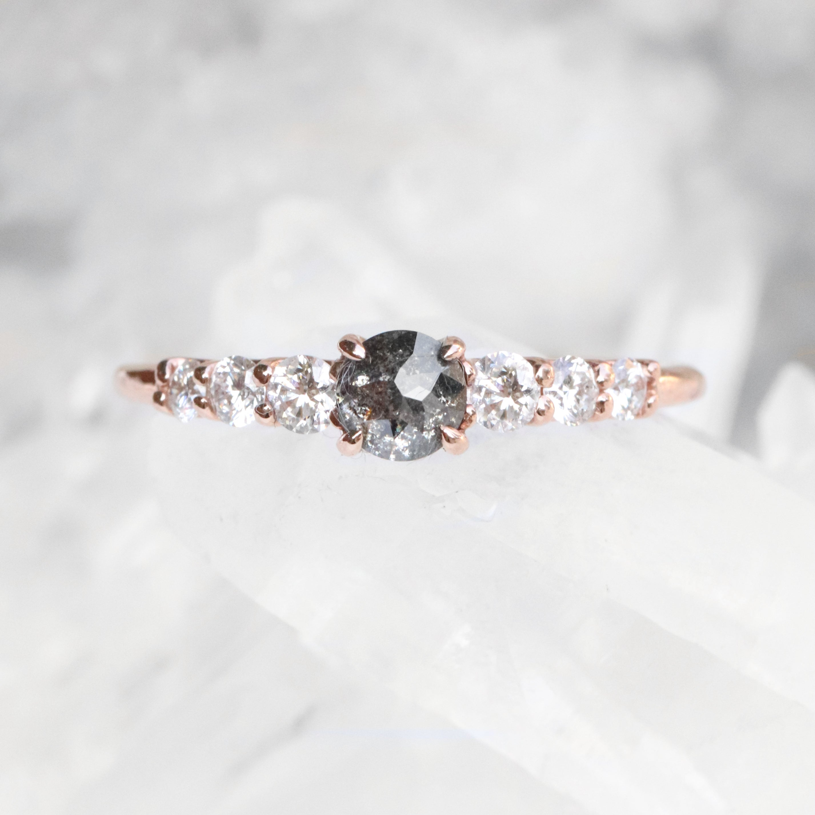 Nina ring with .4 carat round celestial diamond and diamonds in 10k rose gold - ready to size and ship - Salt & Pepper Celestial Diamond Engagement Rings and Wedding Bands  by Midwinter Co.