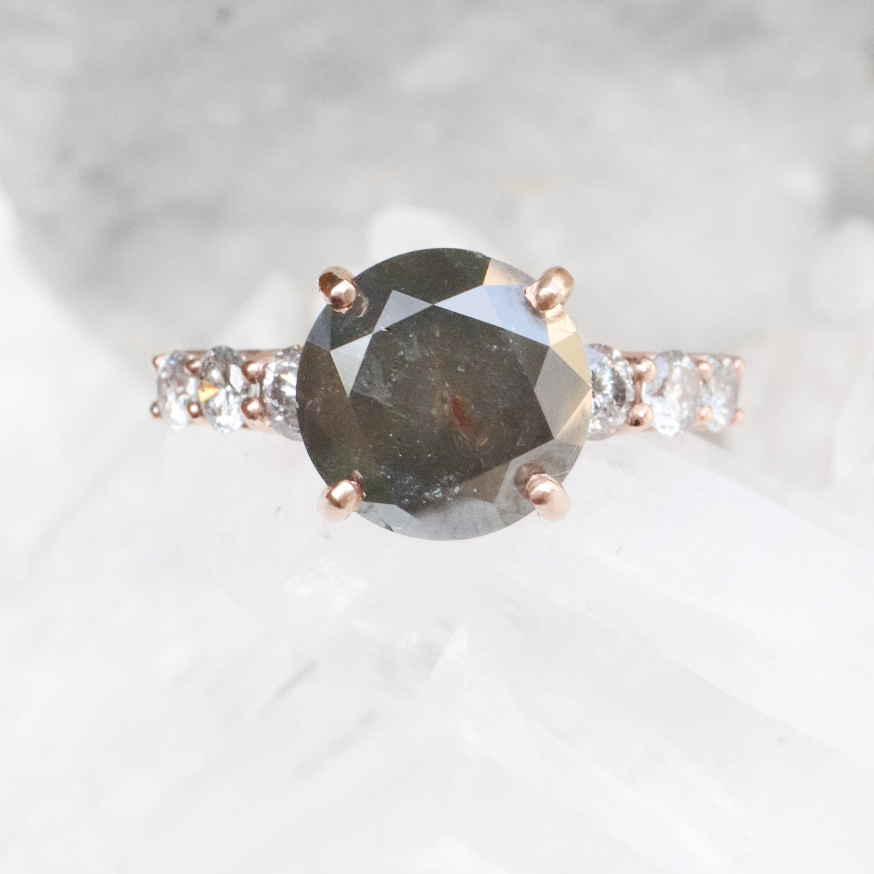 Nina Ring with a 4.6 carat Celestial Diamond + Celestial Accents in 10k Rose Gold - Ready to Size and Ship - Salt & Pepper Celestial Diamond Engagement Rings and Wedding Bands  by Midwinter Co.