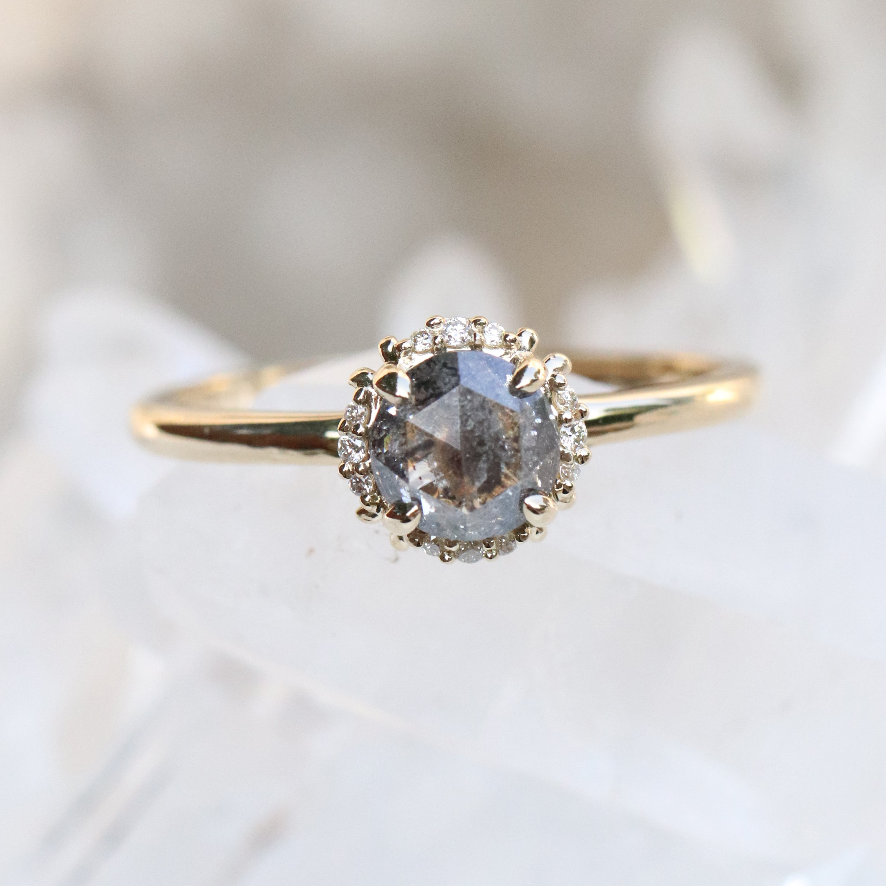 Astrid Ring with a Celetial Diamond in 14k Yellow Gold - Ready to Size and Ship - Salt & Pepper Celestial Diamond Engagement Rings and Wedding Bands  by Midwinter Co.