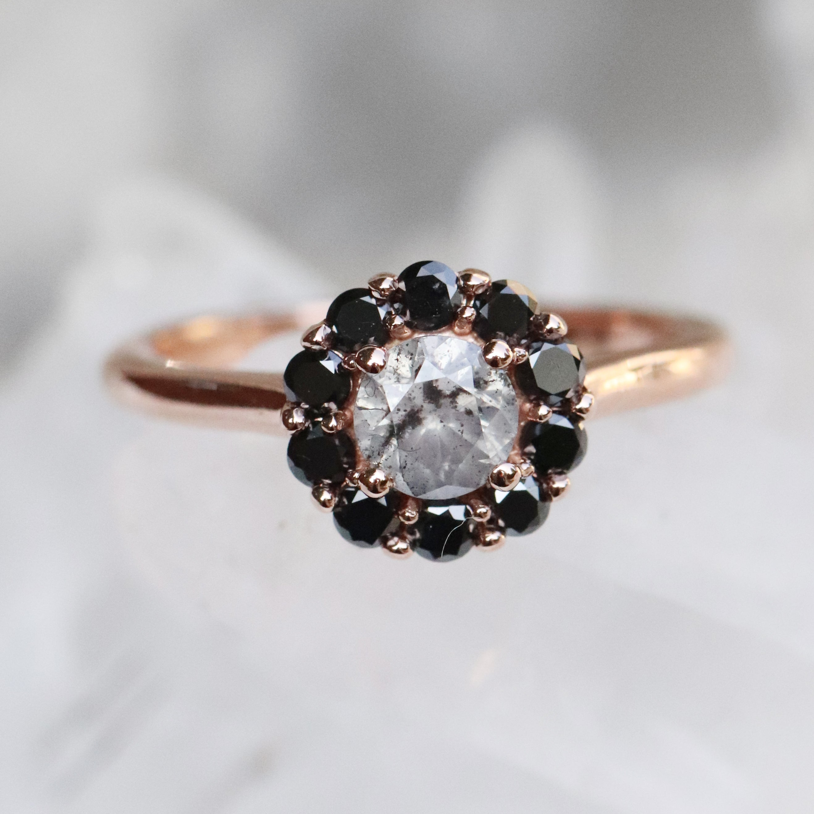 Magnolia Ring with a 1.05 ct Celestial Diamond and Black Diamond Accents in 14k Rose Gold - Ready to Size and Ship - Salt & Pepper Celestial Diamond Engagement Rings and Wedding Bands  by Midwinter Co.