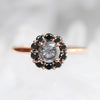 Magnolia Ring with a 1.02 Celestial Diamond and Black Diamond Accents in 14k Rose Gold - Ready to Size and Ship - Midwinter Co. Alternative Bridal Rings and Modern Fine Jewelry