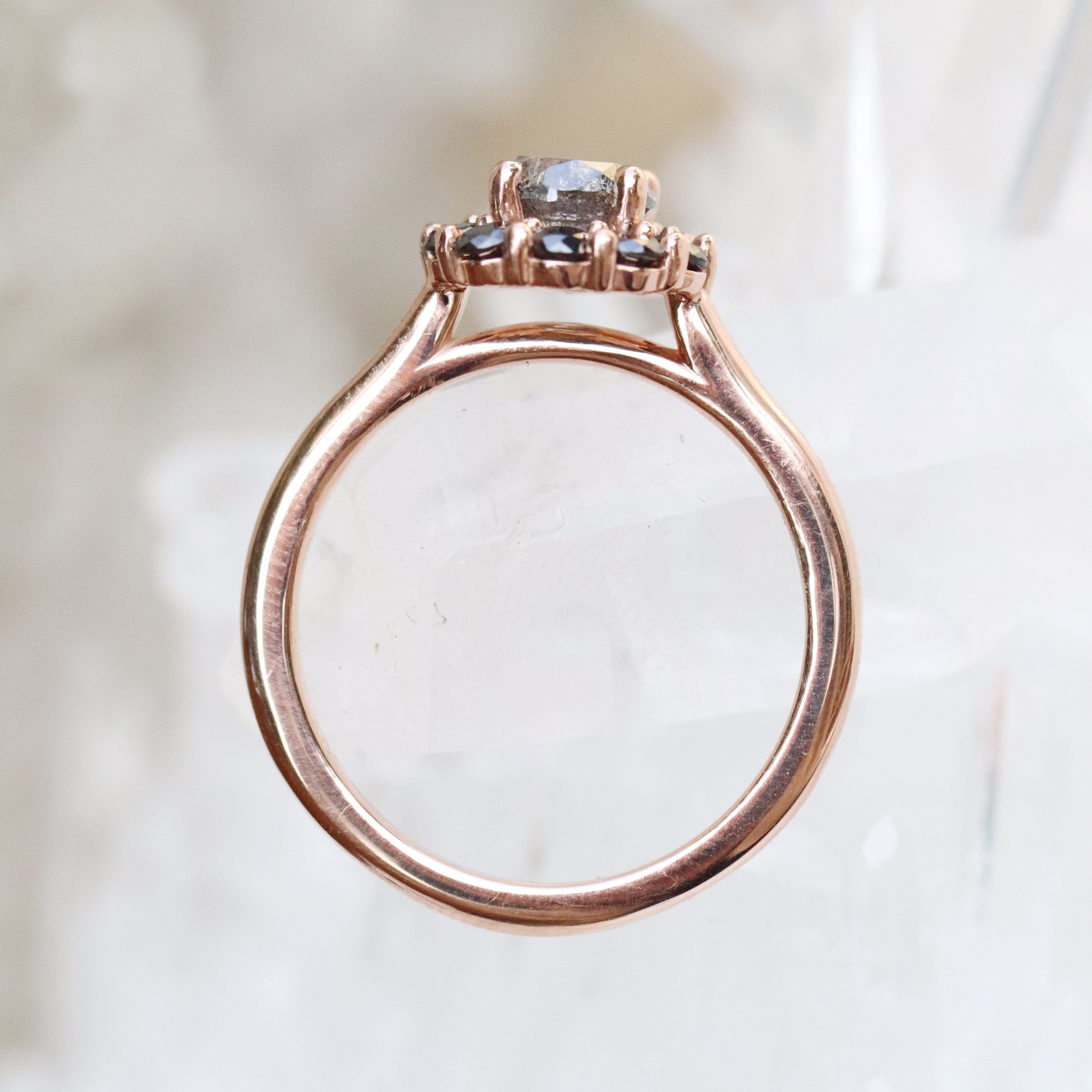 Magnolia Ring with a 1.02 Celestial Diamond and Black Diamond Accents in 14k Rose Gold - Ready to Size and Ship - Salt & Pepper Celestial Diamond Engagement Rings and Wedding Bands  by Midwinter Co.