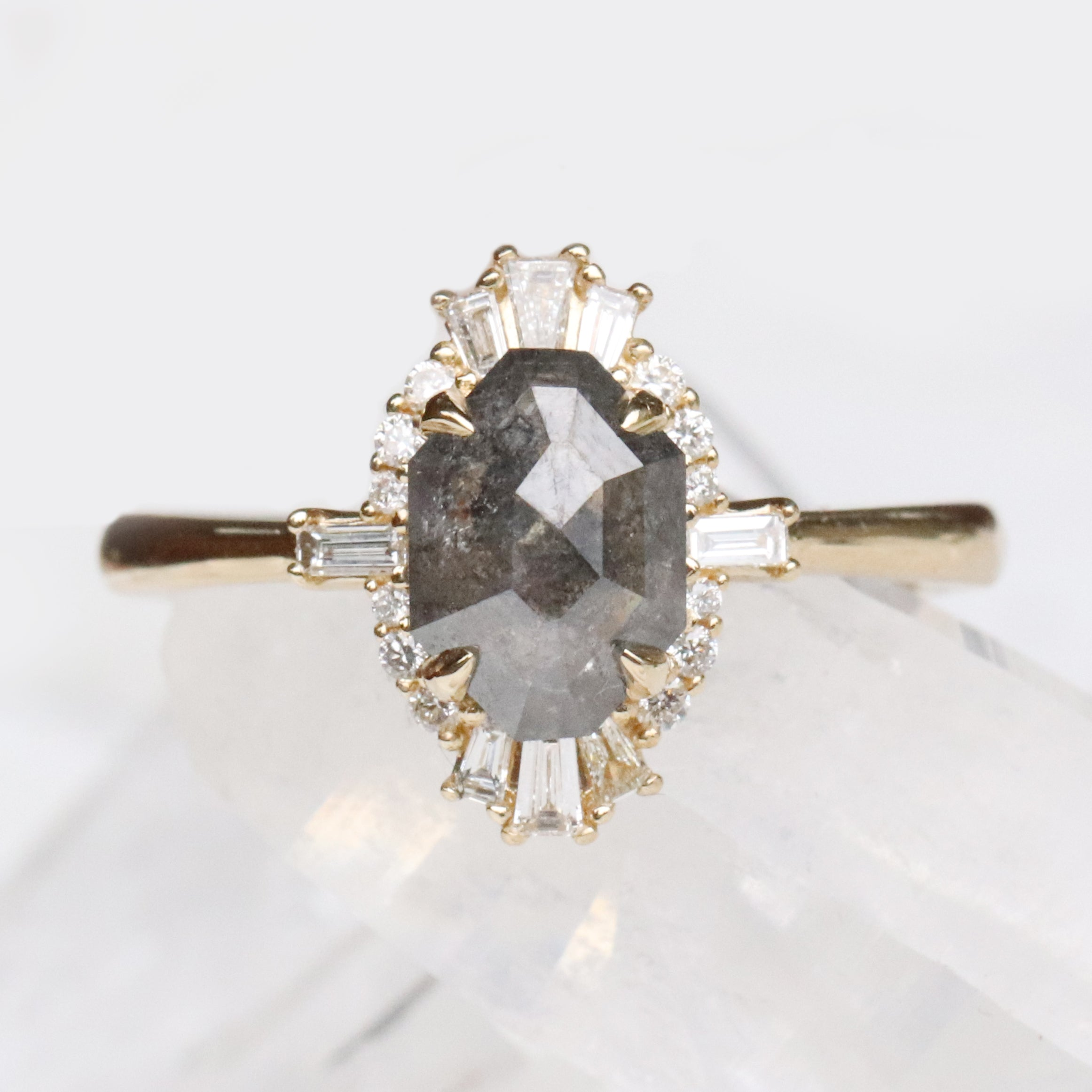 samantha - Ophelia Ring with 1.35 carat Celestial Diamond in 14k Yellow Gold - Ready to Size and Ship - Salt & Pepper Celestial Diamond Engagement Rings and Wedding Bands  by Midwinter Co.