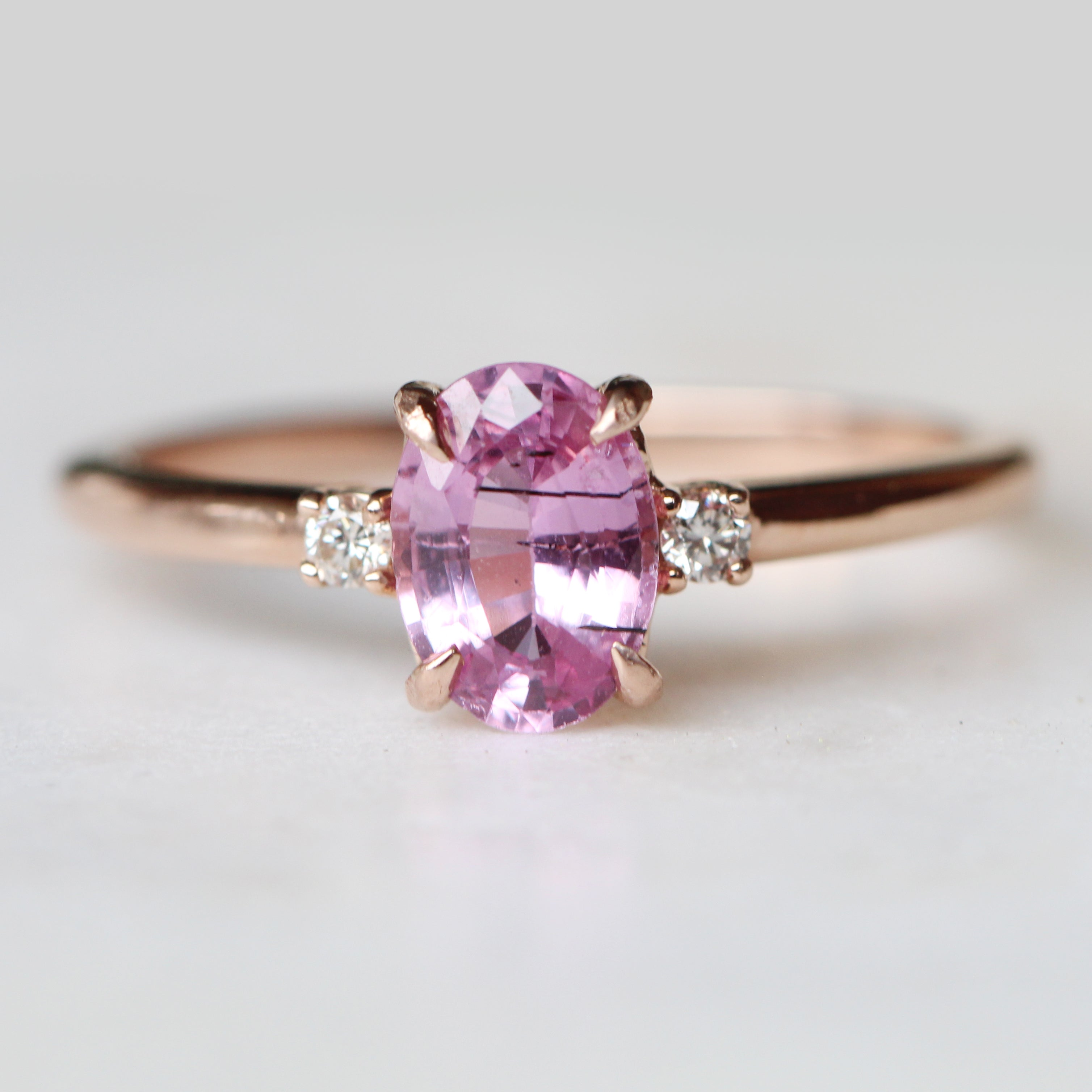 Terra Ring with 1.05 carat pink sapphire with black needle inclusions and white diamonds in 10k rose gold - ready to size and ship - Salt & Pepper Celestial Diamond Engagement Rings and Wedding Bands  by Midwinter Co.