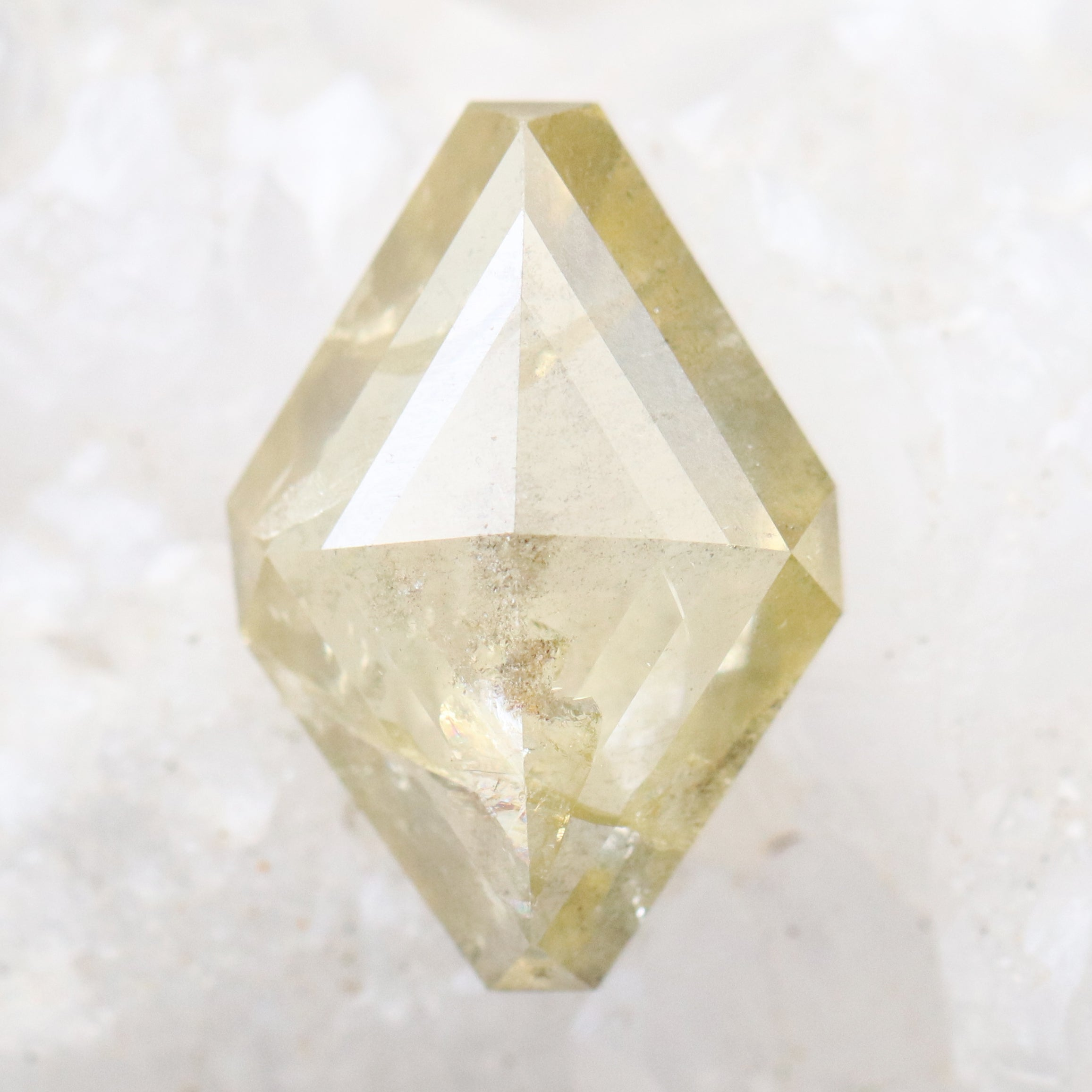 3.70 carat 13 x 9mm champagne yellow celestial diamond for custom work in geometric kite shape rose cut - inventory code YGR370 - MG - Salt & Pepper Celestial Diamond Engagement Rings and Wedding Bands  by Midwinter Co.