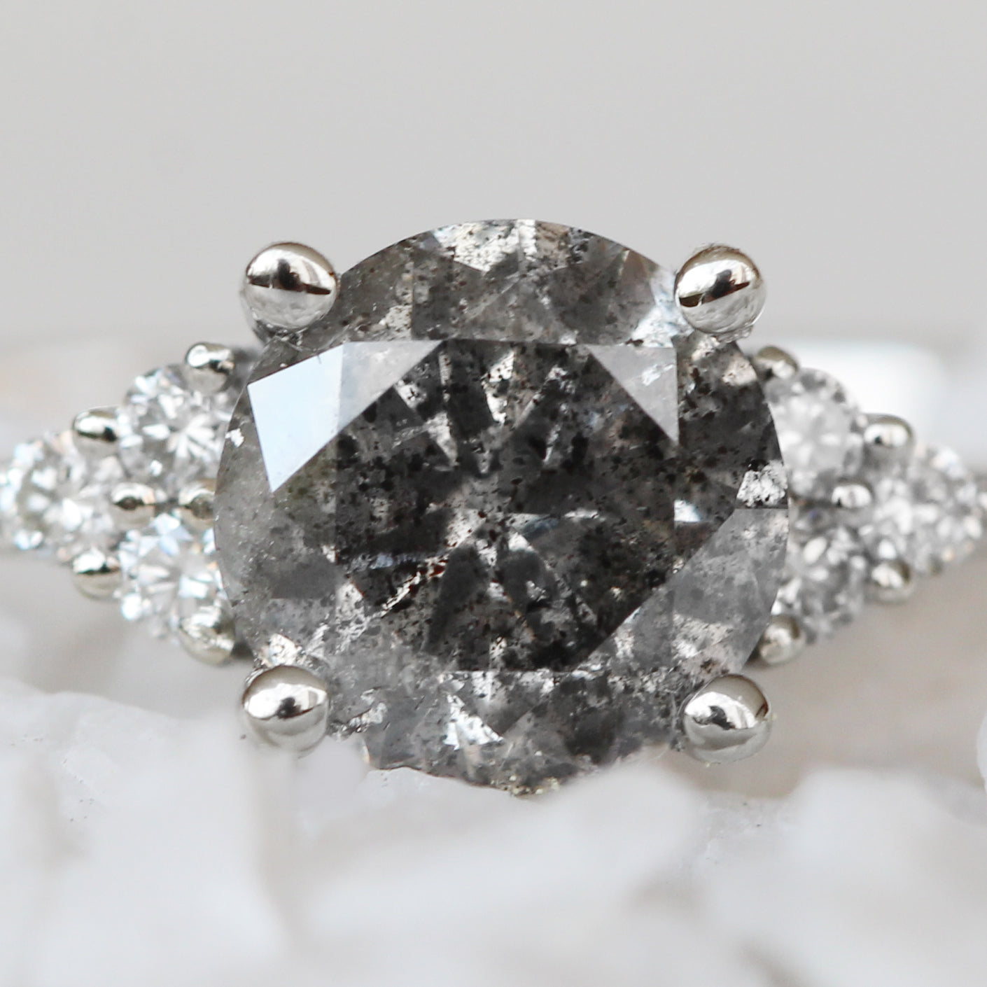 Imogene Ring with a .77 Carat Celestial Diamond and White Accent Diamonds in 10K White Gold - Ready to size and ship - Midwinter Co. Alternative Bridal Rings and Modern Fine Jewelry