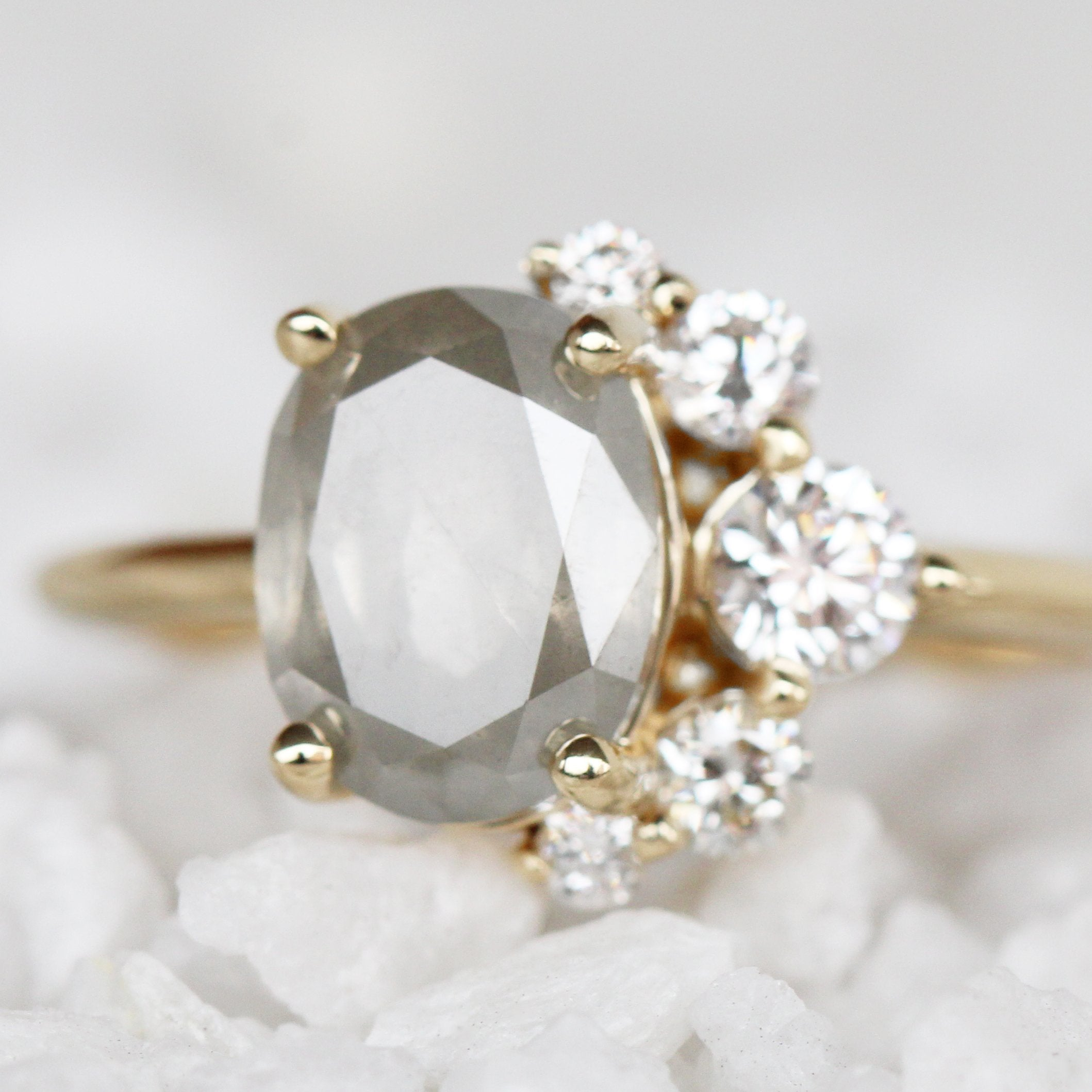 Carell Ring with a 2.35 Carat Oval Celestial Diamond in 14k Yellow Gold - Ready to Size and Ship - Midwinter Co. Alternative Bridal Rings and Modern Fine Jewelry