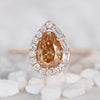 Collins Ring with a 0.72 Carat Cognac Moissanite and Diamond Halo in 14k Rose Gold - Ready to Size and Ship - Midwinter Co. Alternative Bridal Rings and Modern Fine Jewelry