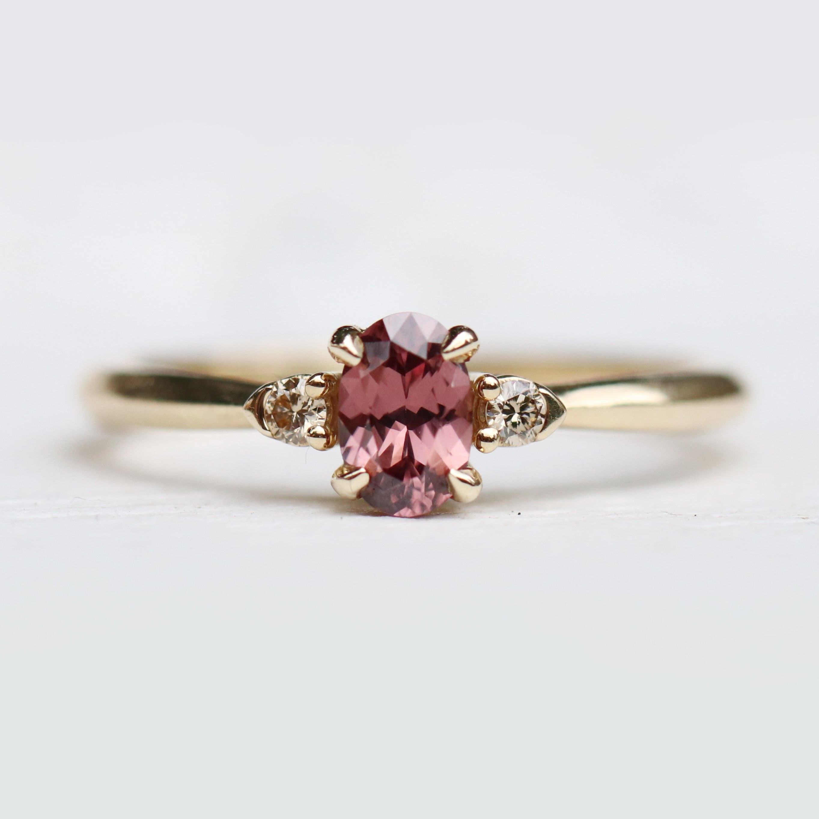 Yardley Ring - Hyacinth Pink Zircon + Champagne Accent Diamonds - Ready to Size and Ship - Salt & Pepper Celestial Diamond Engagement Rings and Wedding Bands  by Midwinter Co.