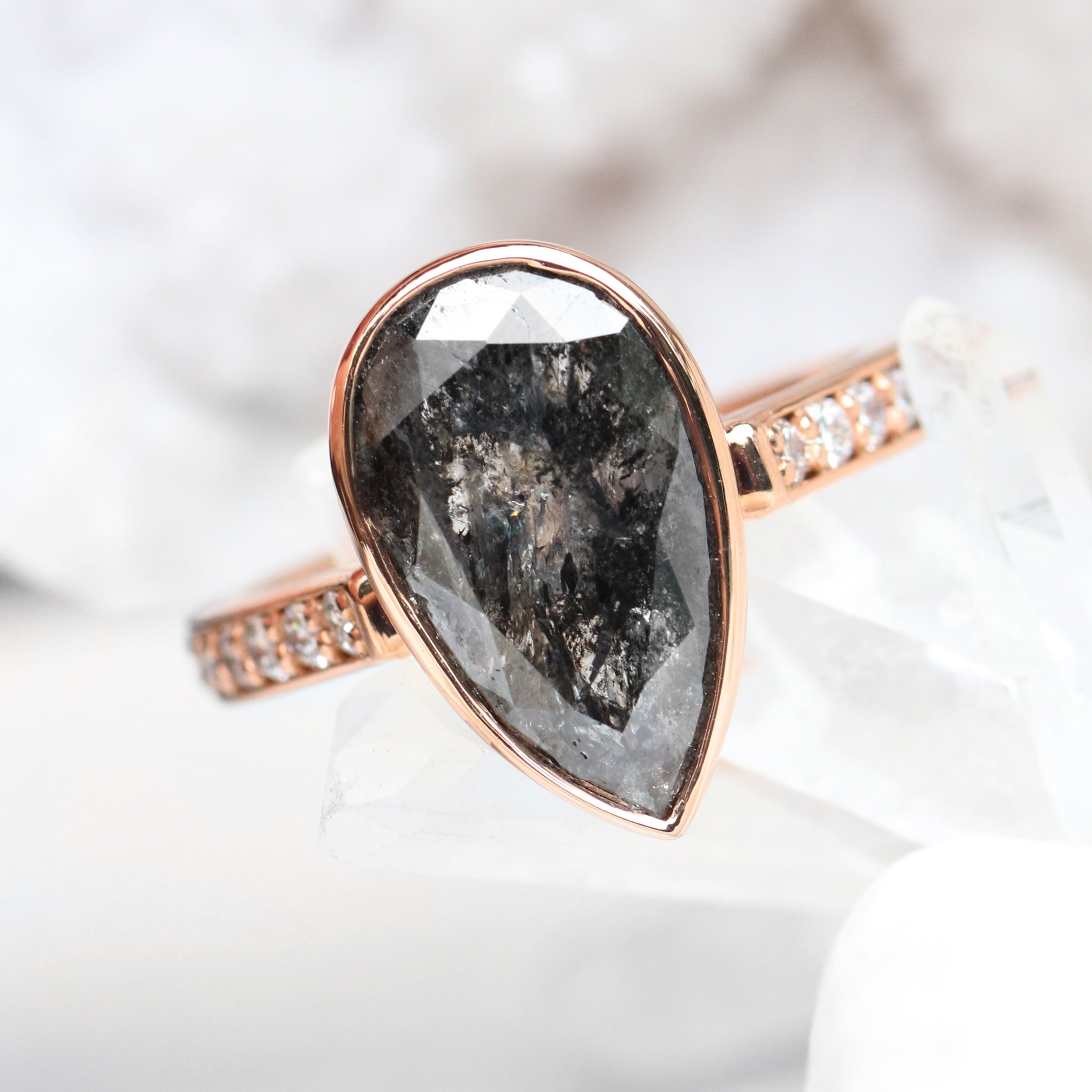 Corie Ring bezel 4.39 carat black Celestial Pear Diamond - Ready to Size and Ship - Salt & Pepper Celestial Diamond Engagement Rings and Wedding Bands  by Midwinter Co.
