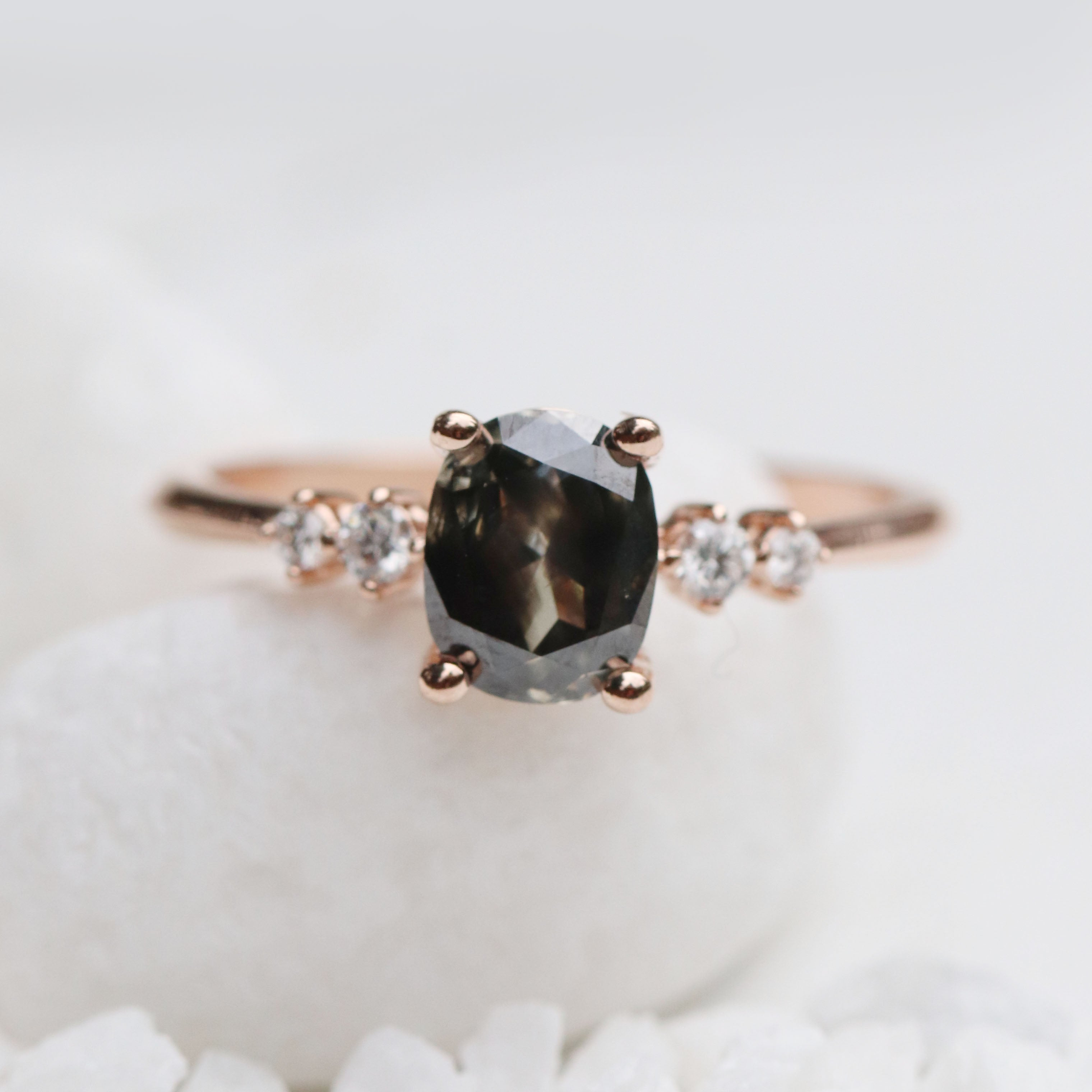 Cordelia Ring with 1.22ct Black Oval Celestial Diamond - Ready to Size and Ship - Salt & Pepper Celestial Diamond Engagement Rings and Wedding Bands  by Midwinter Co.