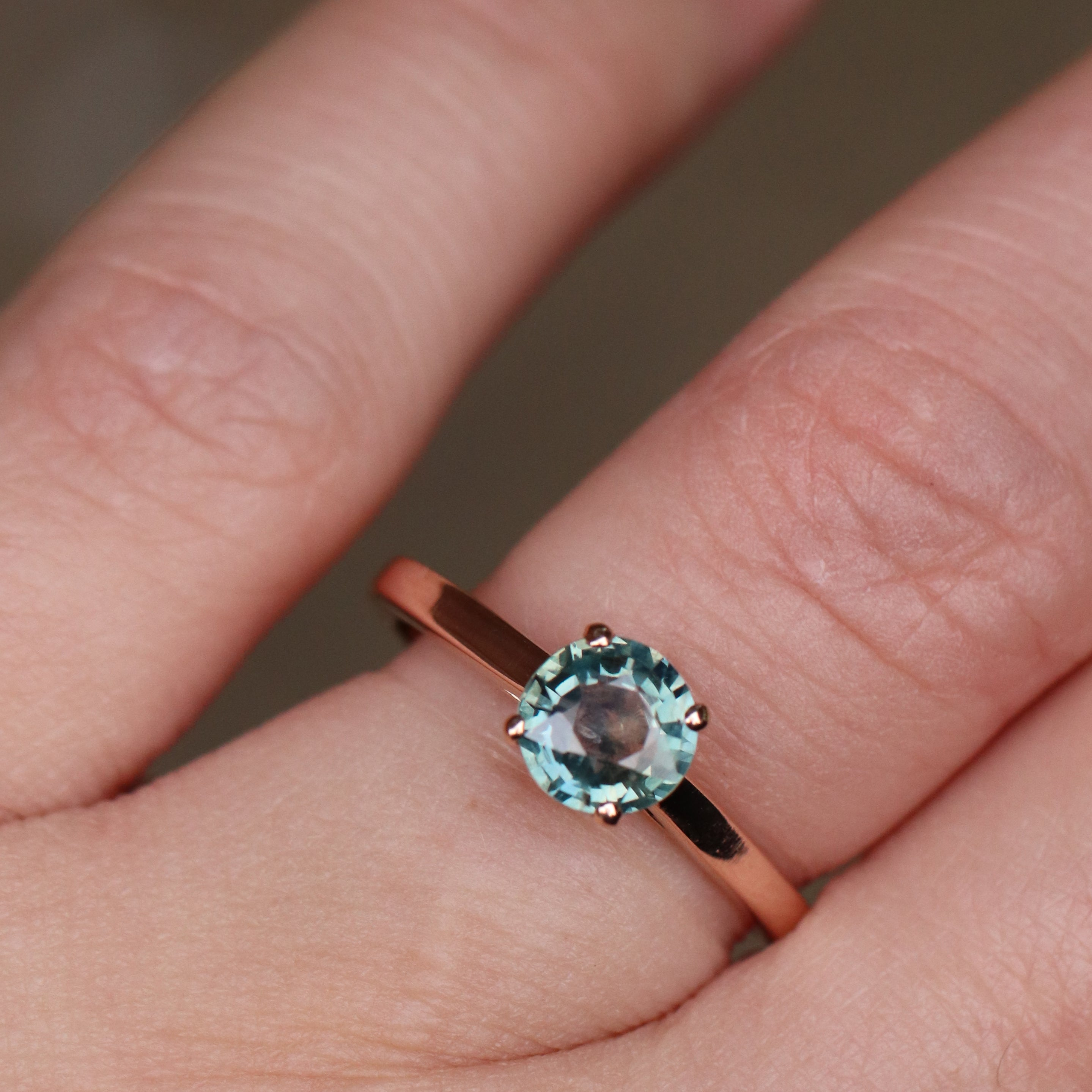 samantha - Charlie Ring with a Teal Sapphire and Hidden Black Diamonds in 14k Rose Gold - Ready to Size and Ship - Salt & Pepper Celestial Diamond Engagement Rings and Wedding Bands  by Midwinter Co.