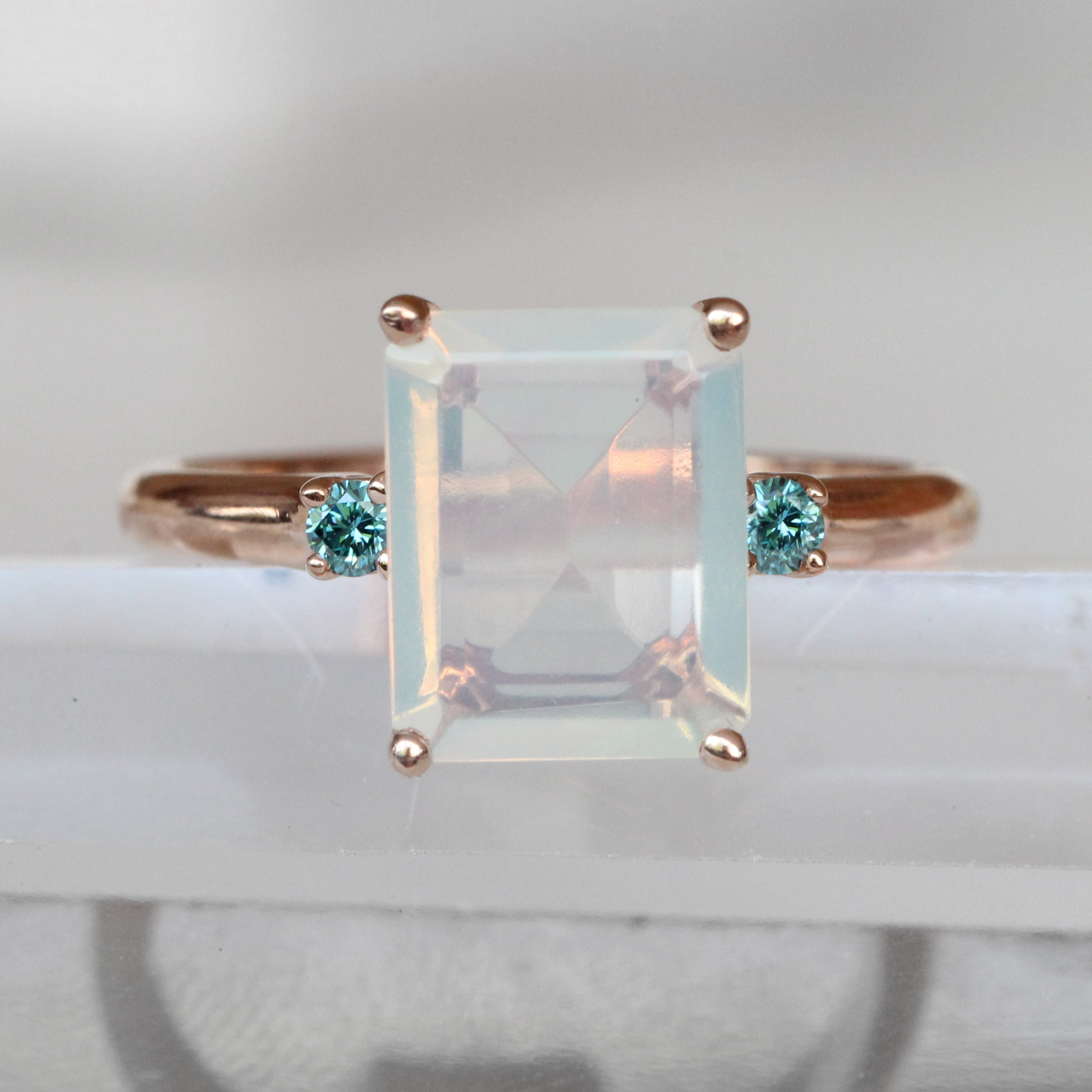 Terra Ring - Opal and blue diamonds - ready to size and ship - Salt & Pepper Celestial Diamond Engagement Rings and Wedding Bands  by Midwinter Co.