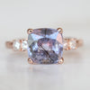 Ezra ring - 4.53 carat rare Purple to Blue Color Change Sapphire with Rutile like inclusions and princess cut accent diamonds in 14k rose gold - Ready to size and ship - Salt & Pepper Celestial Diamond Engagement Rings and Wedding Bands  by Midwinter Co.