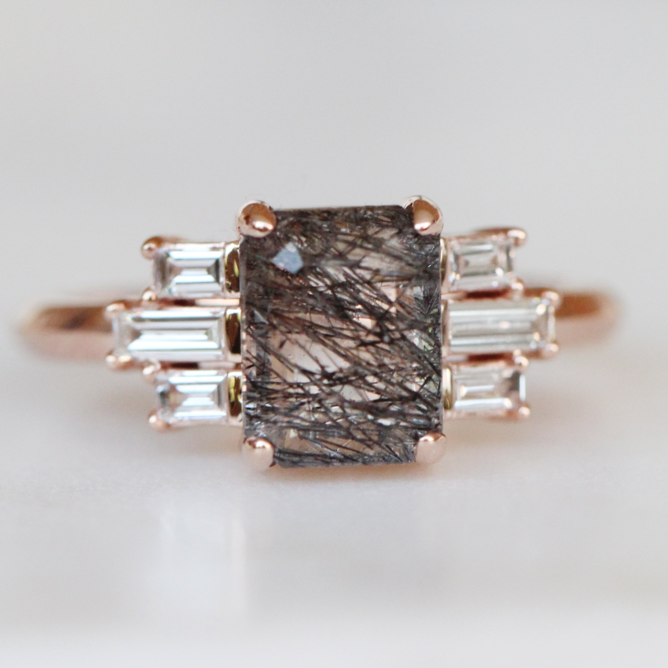 Apollo - Tourmalinated Emerald Cut Quartz and diamond baguette ring in rose gold - ready to size and ship - Salt & Pepper Celestial Diamond Engagement Rings and Wedding Bands  by Midwinter Co.