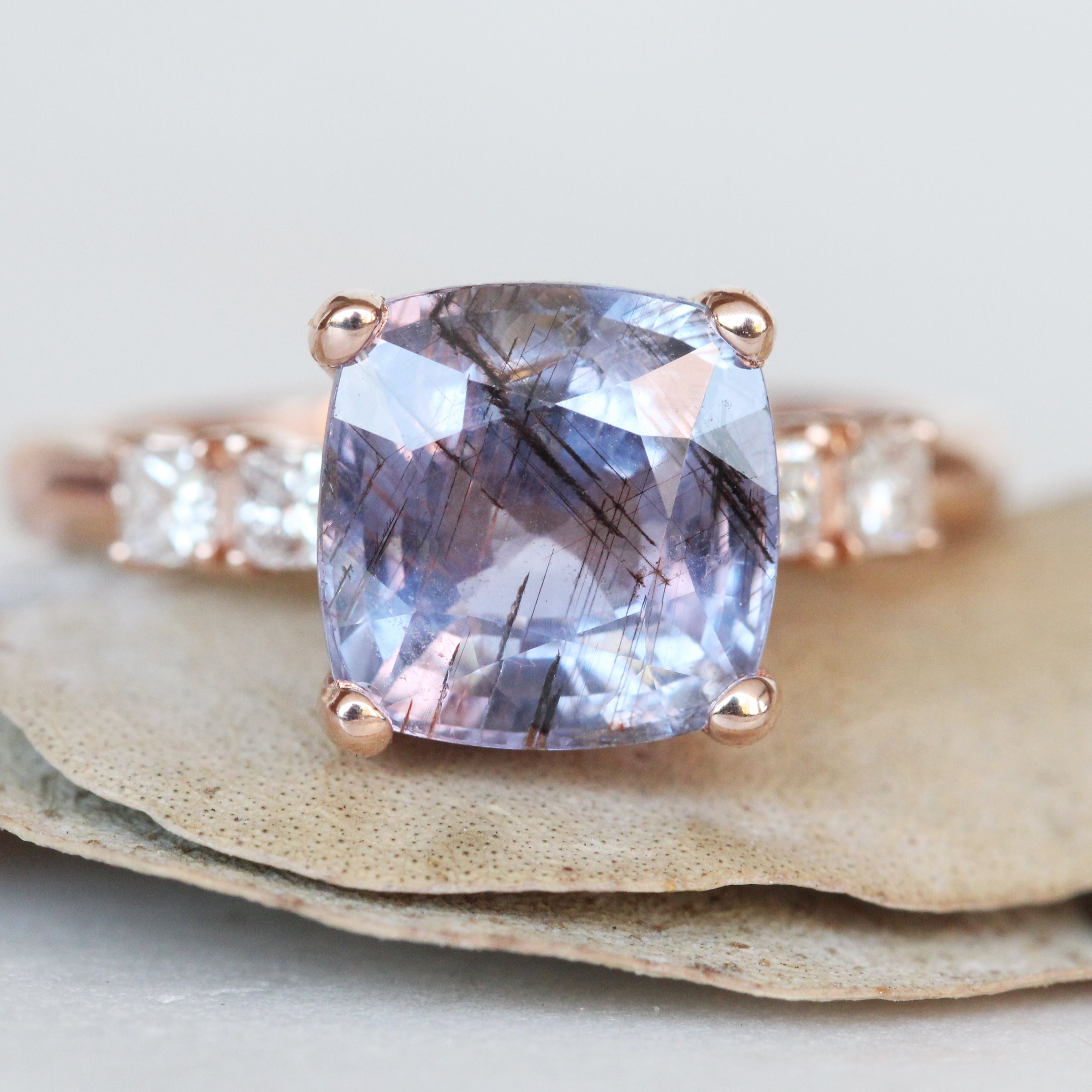 Ezra ring - 4.53 carat rare Purple to Blue Color Change Sapphire with Rutile like inclusions and princess cut accent diamonds in 14k rose gold - Ready to size and ship - Midwinter Co. Alternative Bridal Rings and Modern Fine Jewelry