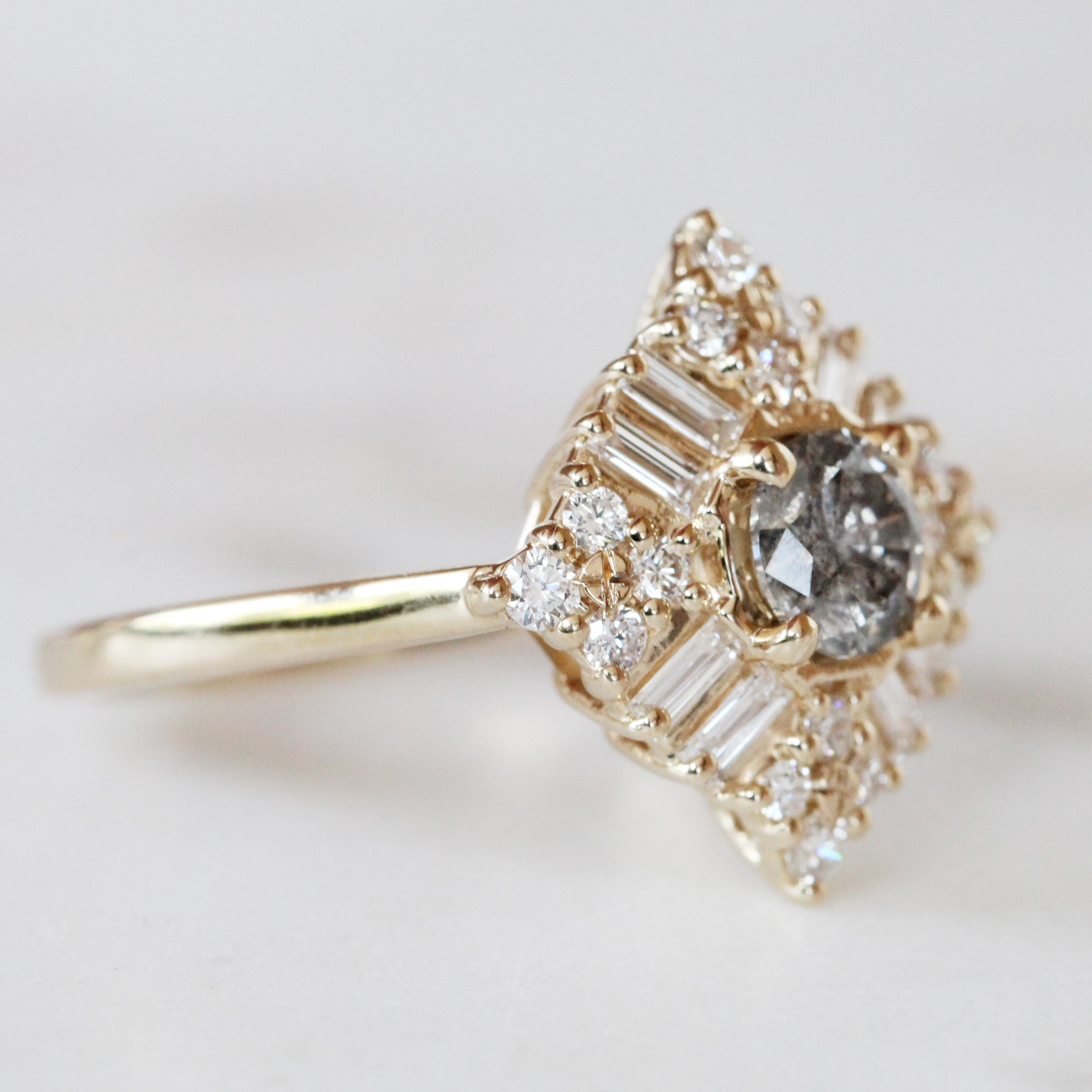 Winnifred Ring with a Celestial Round Diamond and Halo in 14k Yellow Gold - Ready to Size and Ship - Salt & Pepper Celestial Diamond Engagement Rings and Wedding Bands  by Midwinter Co.