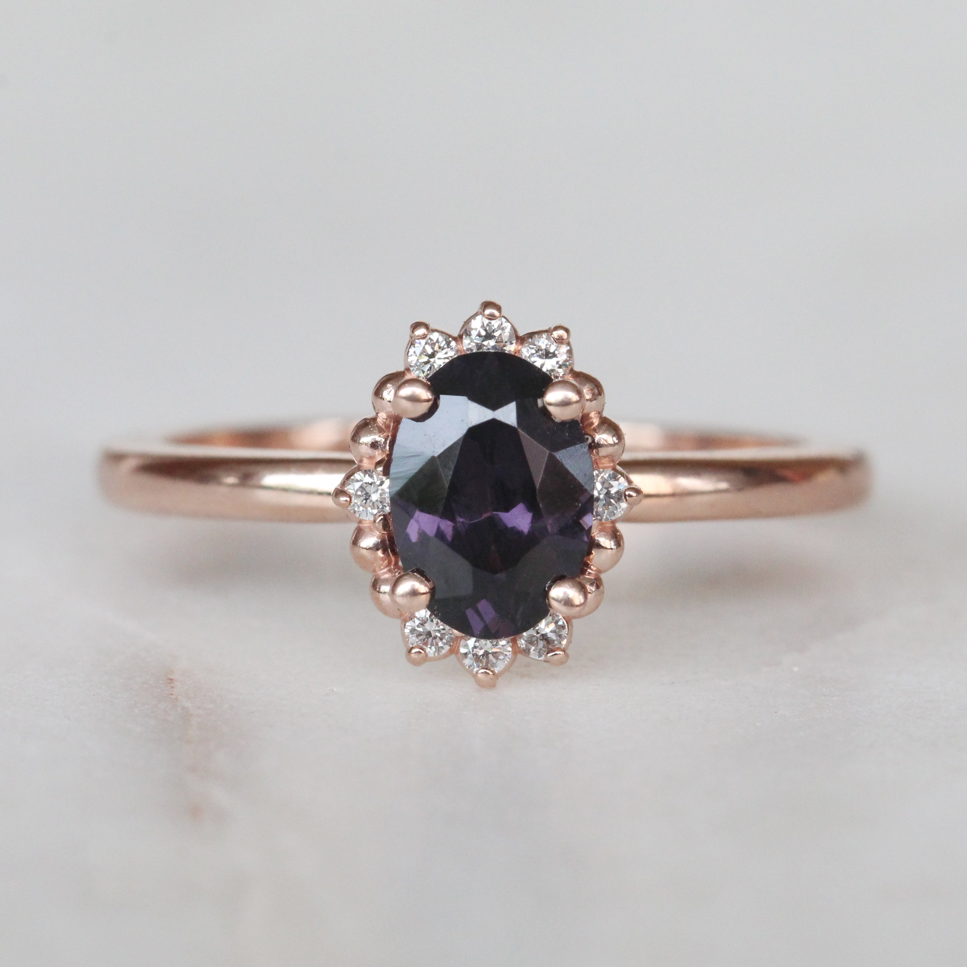 Lilac ring with dark plum purple natural Spinel and halo of white natural diamonds - 10k rose gold - Ready to size and ship - Salt & Pepper Celestial Diamond Engagement Rings and Wedding Bands  by Midwinter Co.