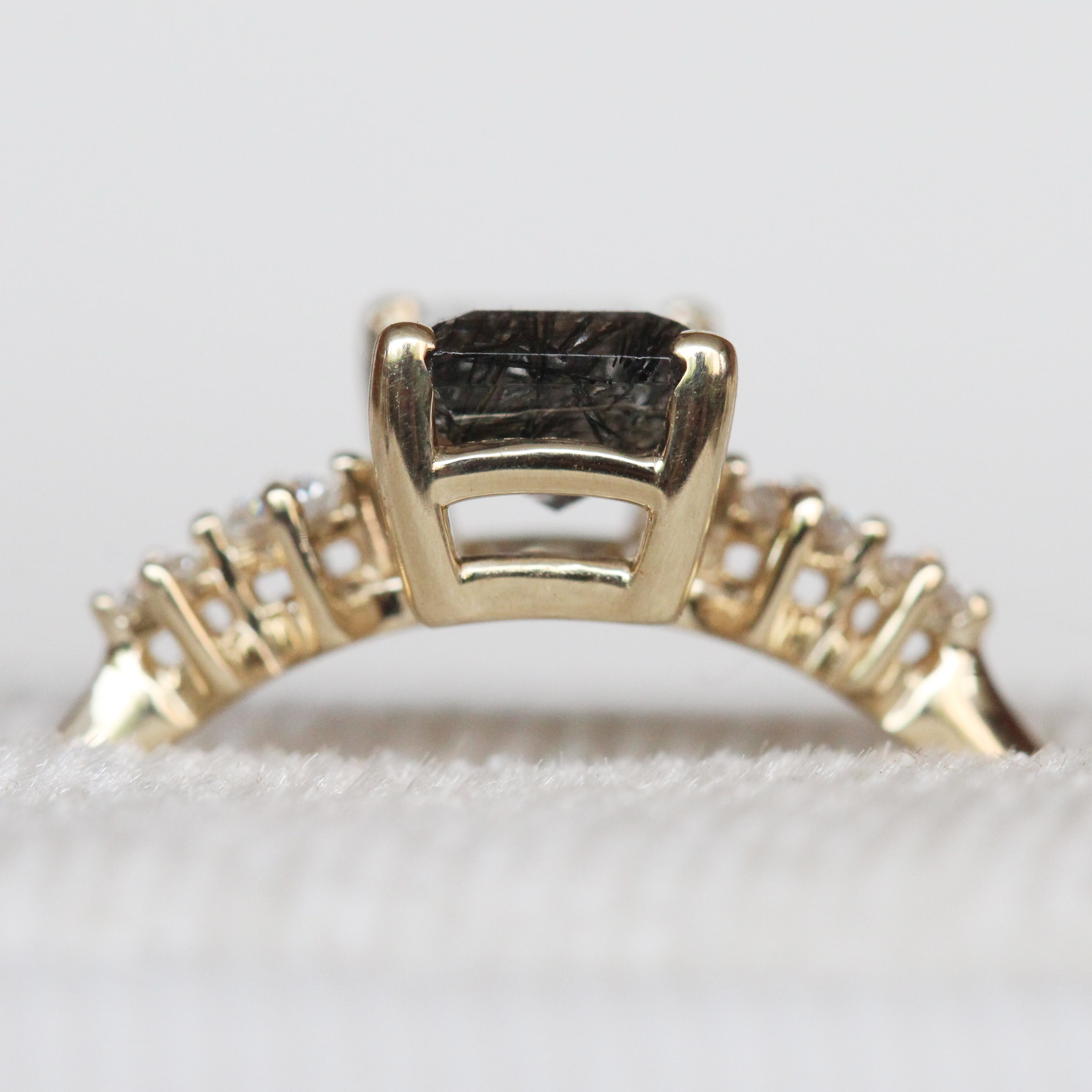 Cordelia ring with .88ct Black Celestial Tourmalinated Quartz in 14k yellow gold with white accent diamonds - ready to size and ship - Salt & Pepper Celestial Diamond Engagement Rings and Wedding Bands  by Midwinter Co.