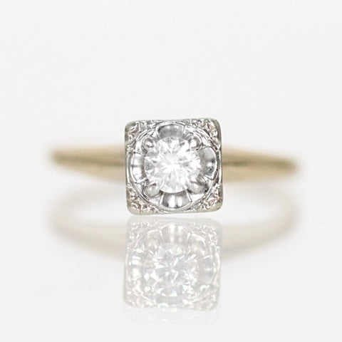 Antique - .10 carat Illusion Vintage Ring in 14k White and Yellow Gold