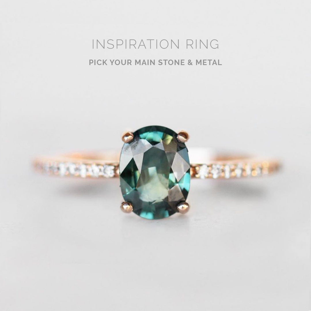 Inspiration Ring - Imani ring with your center stone + metal - Salt & Pepper Celestial Diamond Engagement Rings and Wedding Bands  by Midwinter Co.