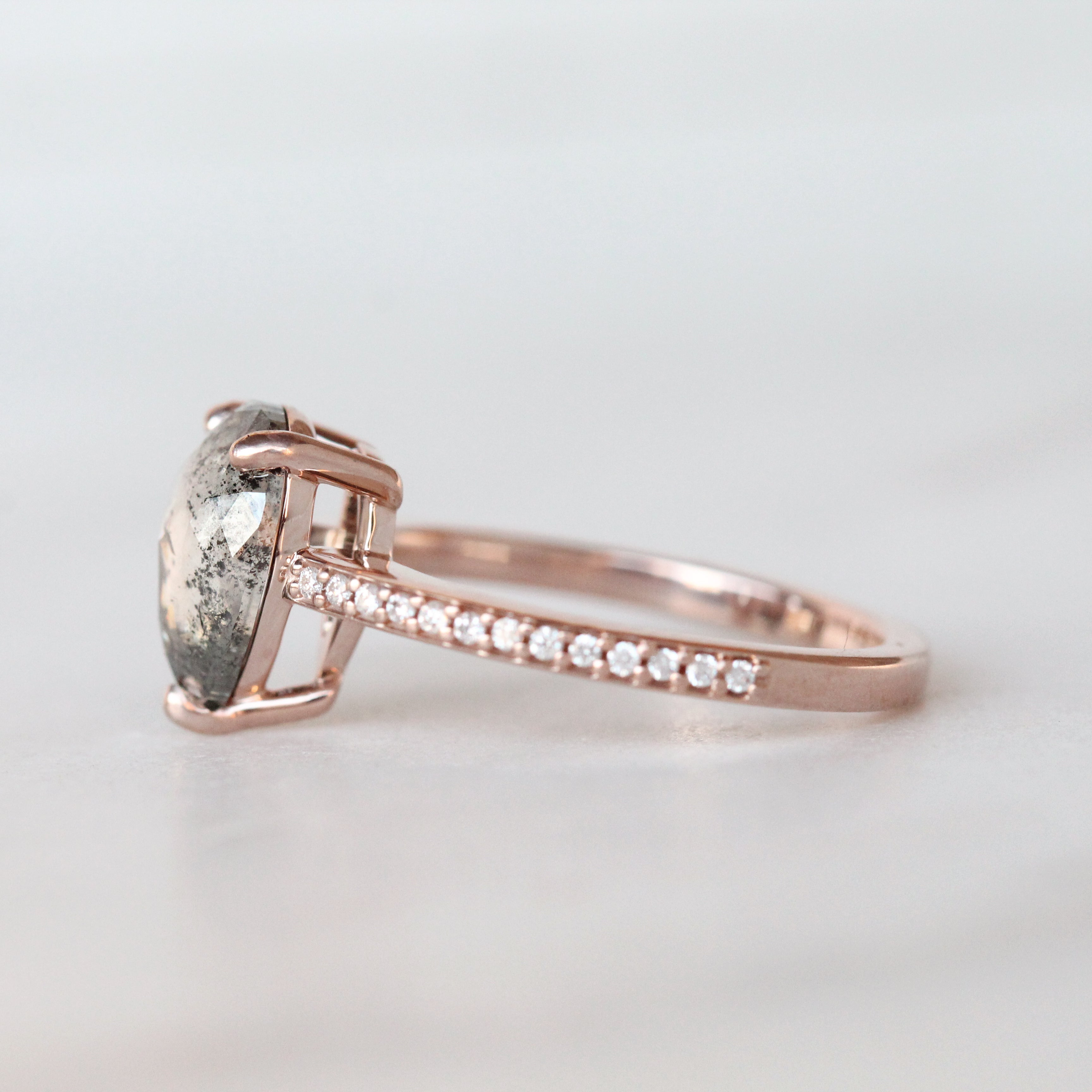 Imani Ring with a 1.85 Carat Rose Cut Pear Celestial Diamond in 14k Rose Gold - Ready to Size and Ship - Midwinter Co. Alternative Bridal Rings and Modern Fine Jewelry