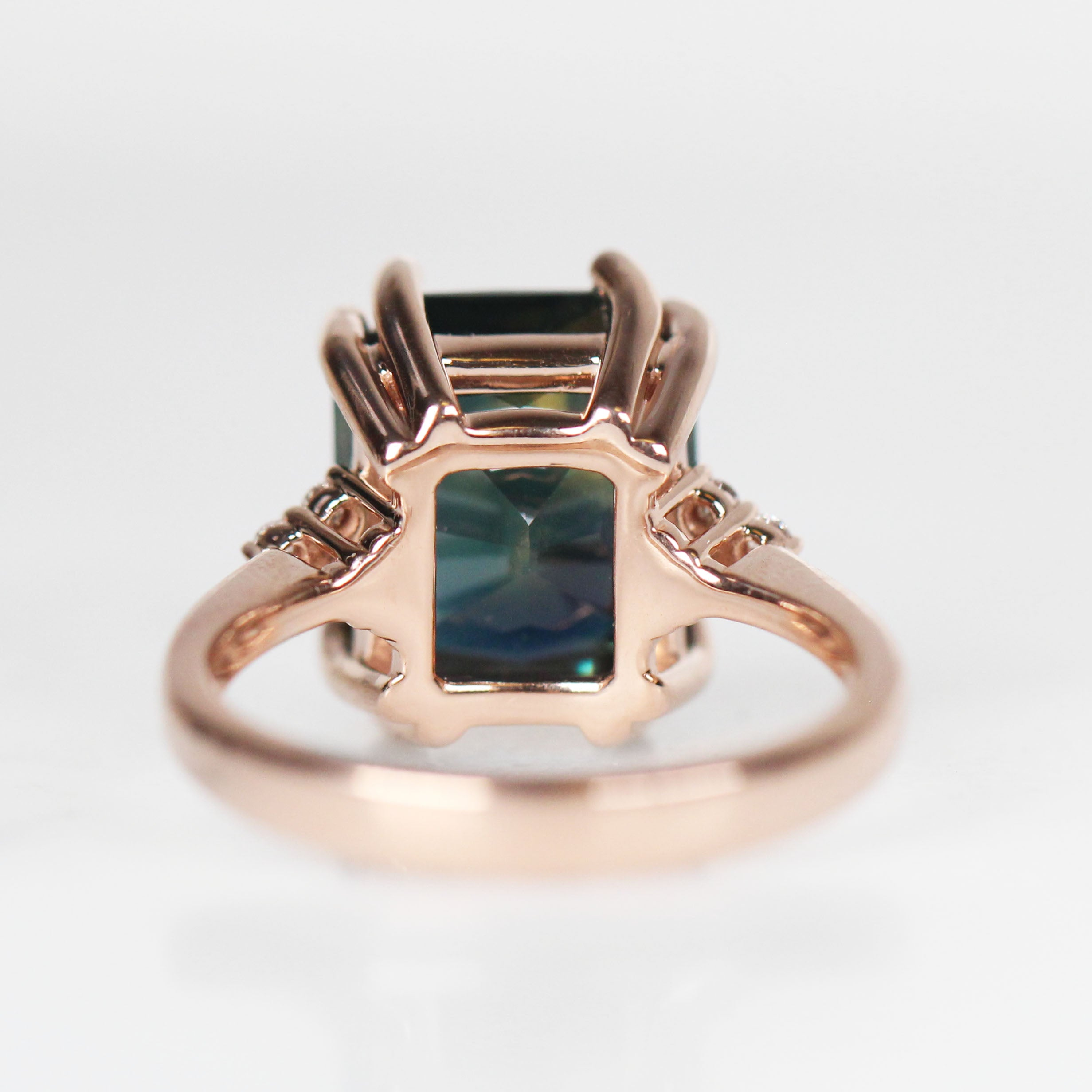 Octagon Sapphire Imogene Ring + Band set with 9.22 Carat Sapphire GIA + Lifetime Care Plan - 14k Rose Gold - Ready to Size and Ship - Celestial Diamonds ® by Midwinter Co.