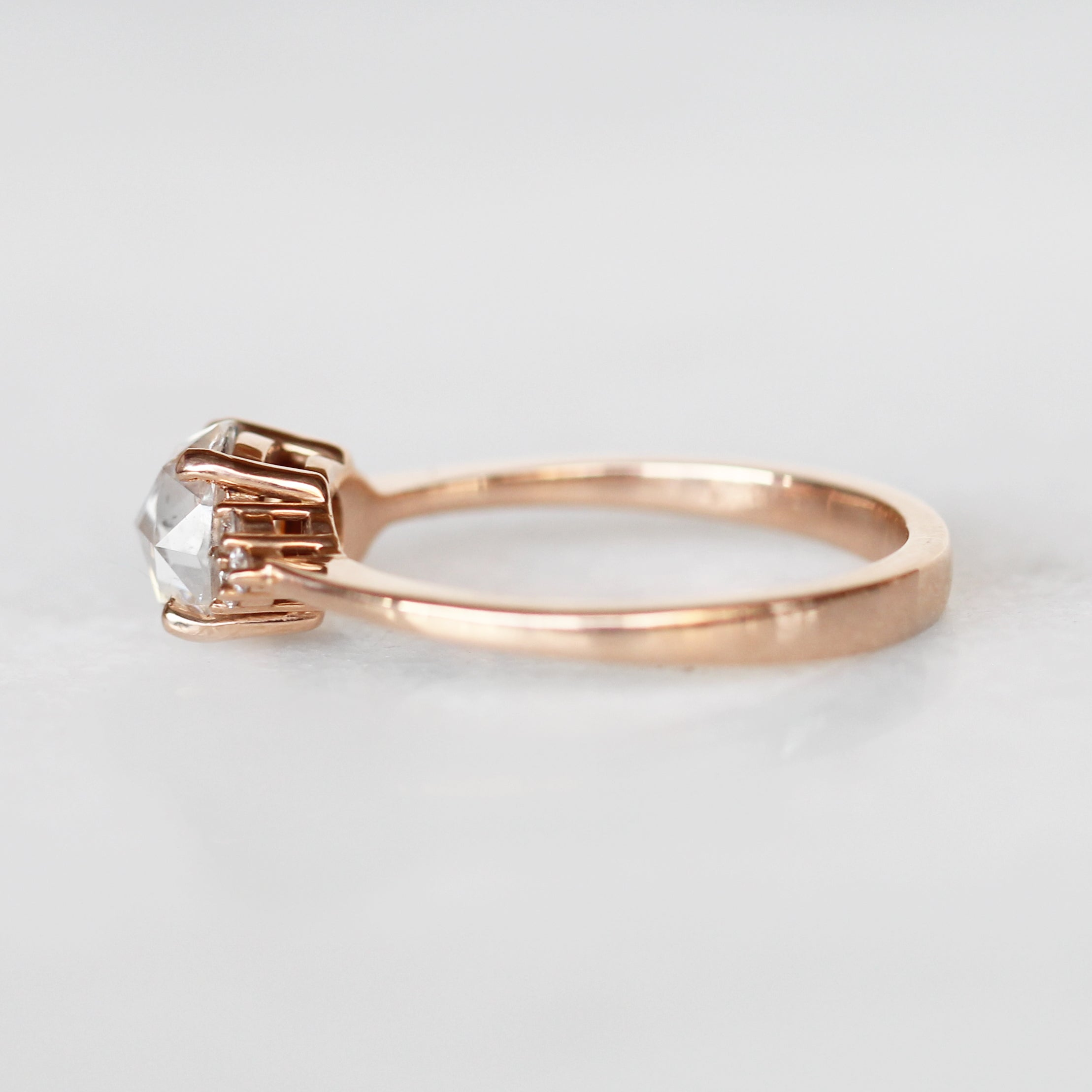Imogene Ring with 1 Carat Round Moissanite in 10k Rose Gold- Ready to Size and Ship - Celestial Diamonds ® by Midwinter Co.