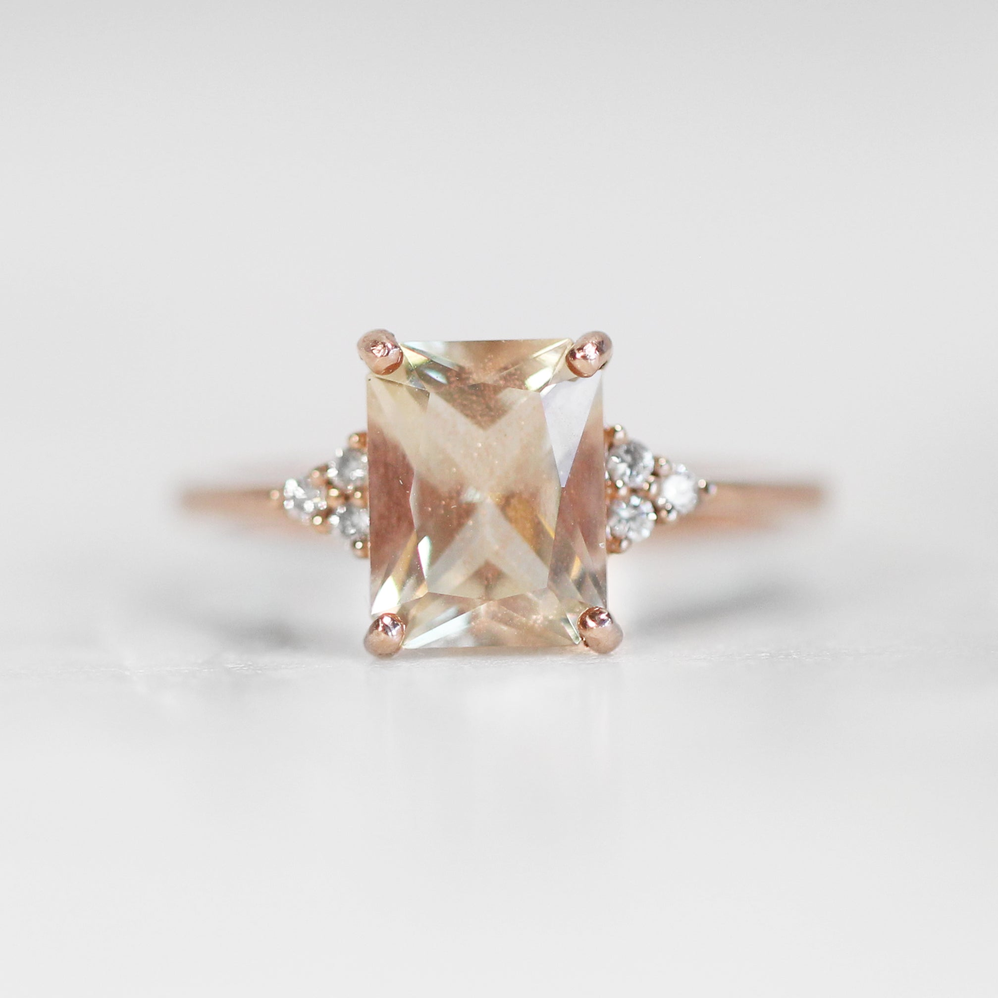 Imogene Ring with 2.12 Carat Emerald cut Sunstone in 10k Rose Gold- Ready to size and ship - Celestial Diamonds ® by Midwinter Co.