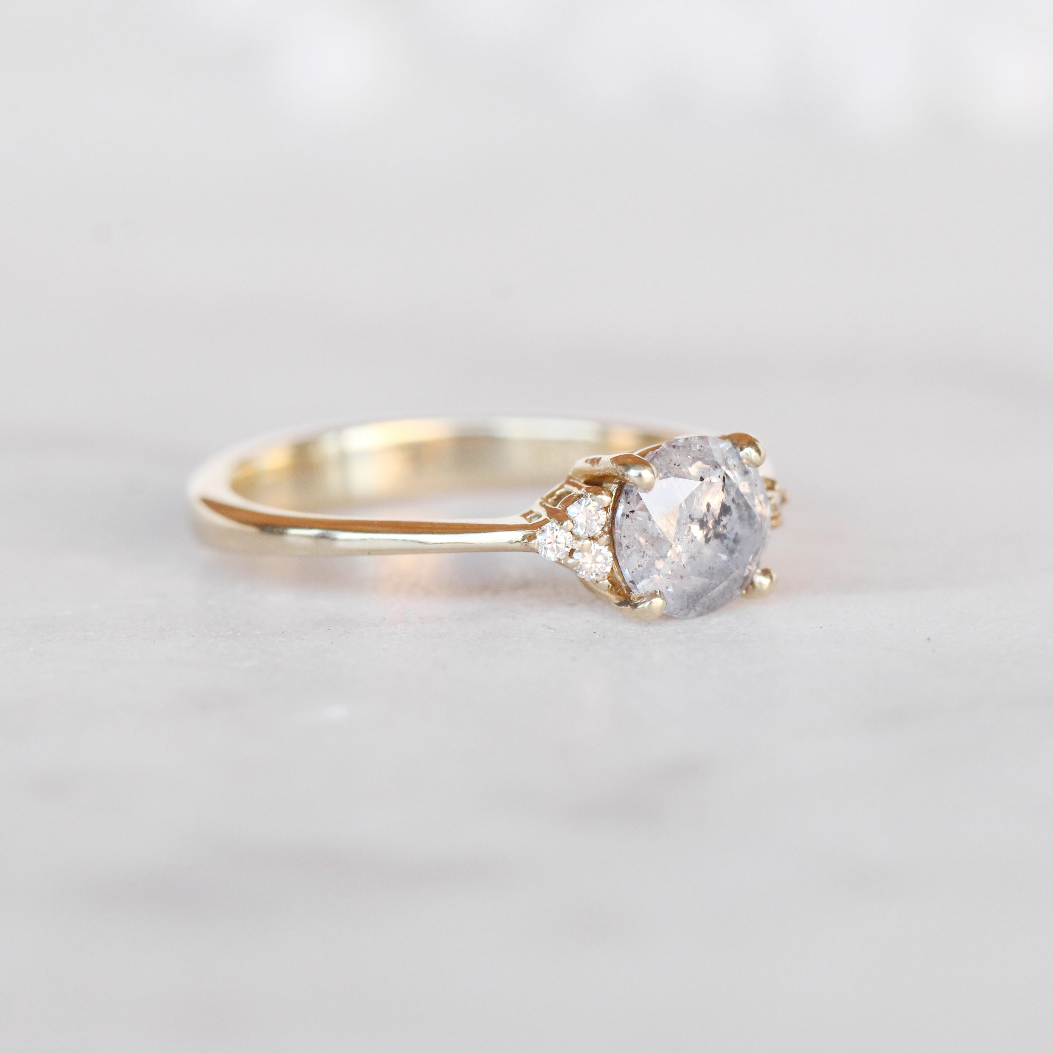 Imogene Ring with a 1.12 Carat Celestial Diamond and Six 1.3mm Cear Accents in 14k Yellow - Ready to Size and Ship - Salt & Pepper Celestial Diamond Engagement Rings and Wedding Bands  by Midwinter Co.
