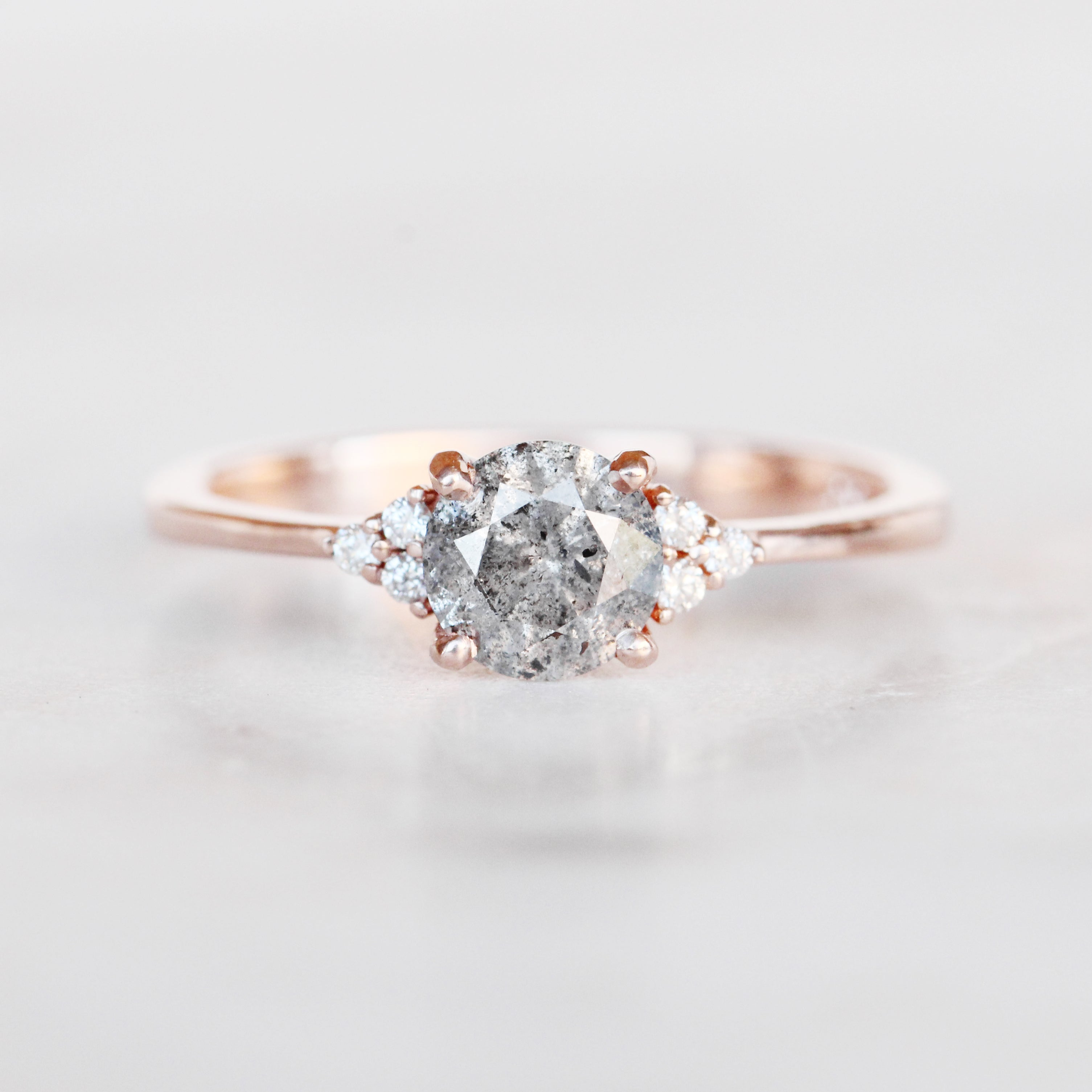 Imogene Ring with a .77 Carat Celestial Diamond in 10k Rose Gold - Ready to Size and Ship - Salt & Pepper Celestial Diamond Engagement Rings and Wedding Bands  by Midwinter Co.