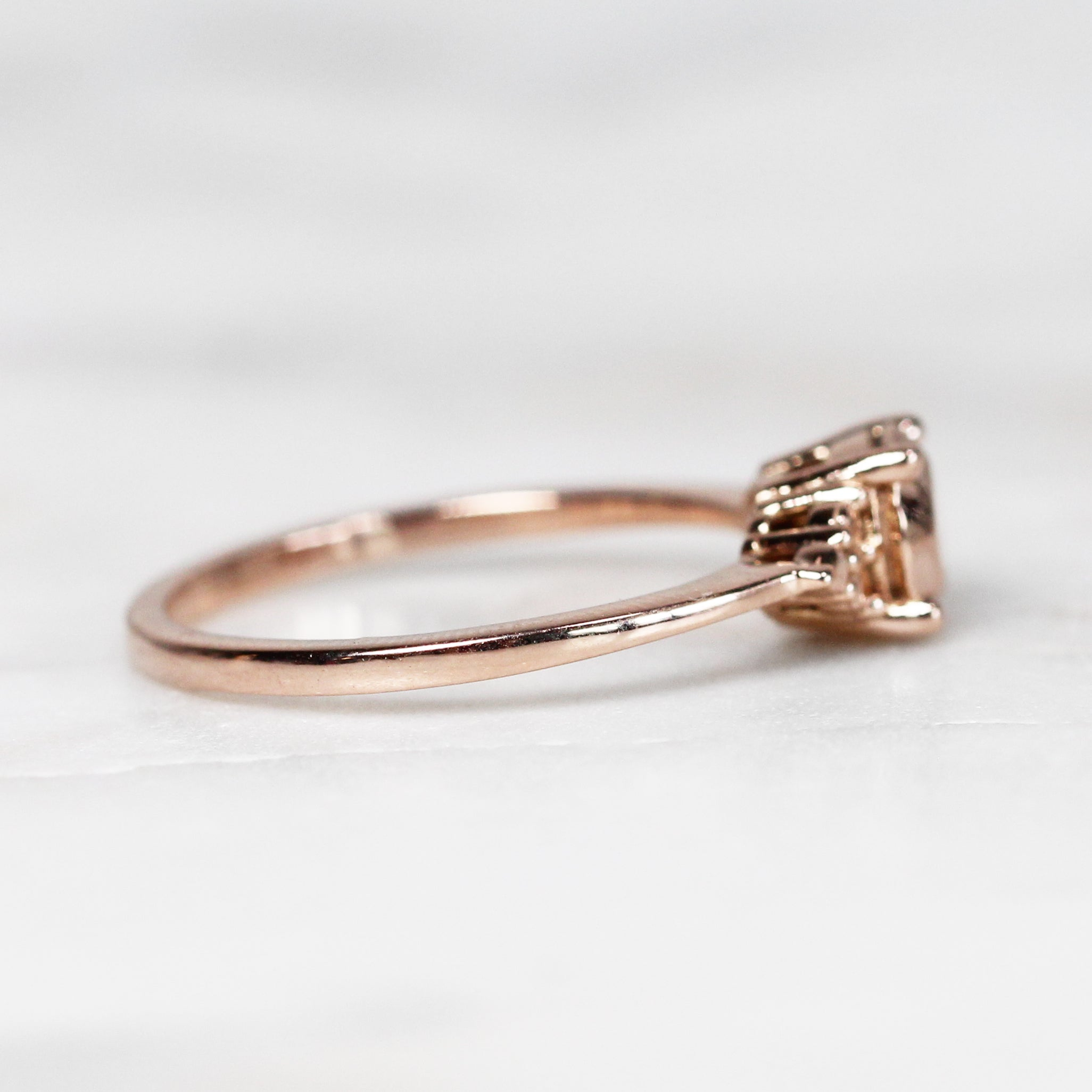 Solid Imogene Ring with 1 Carat Round Gold Stone in your choice of 14k gold - Salt & Pepper Celestial Diamond Engagement Rings and Wedding Bands  by Midwinter Co.