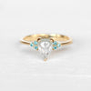 Imogene Ring - Misty aqua natural white blue diamond in 14k yellow gold - Ready to size and ship