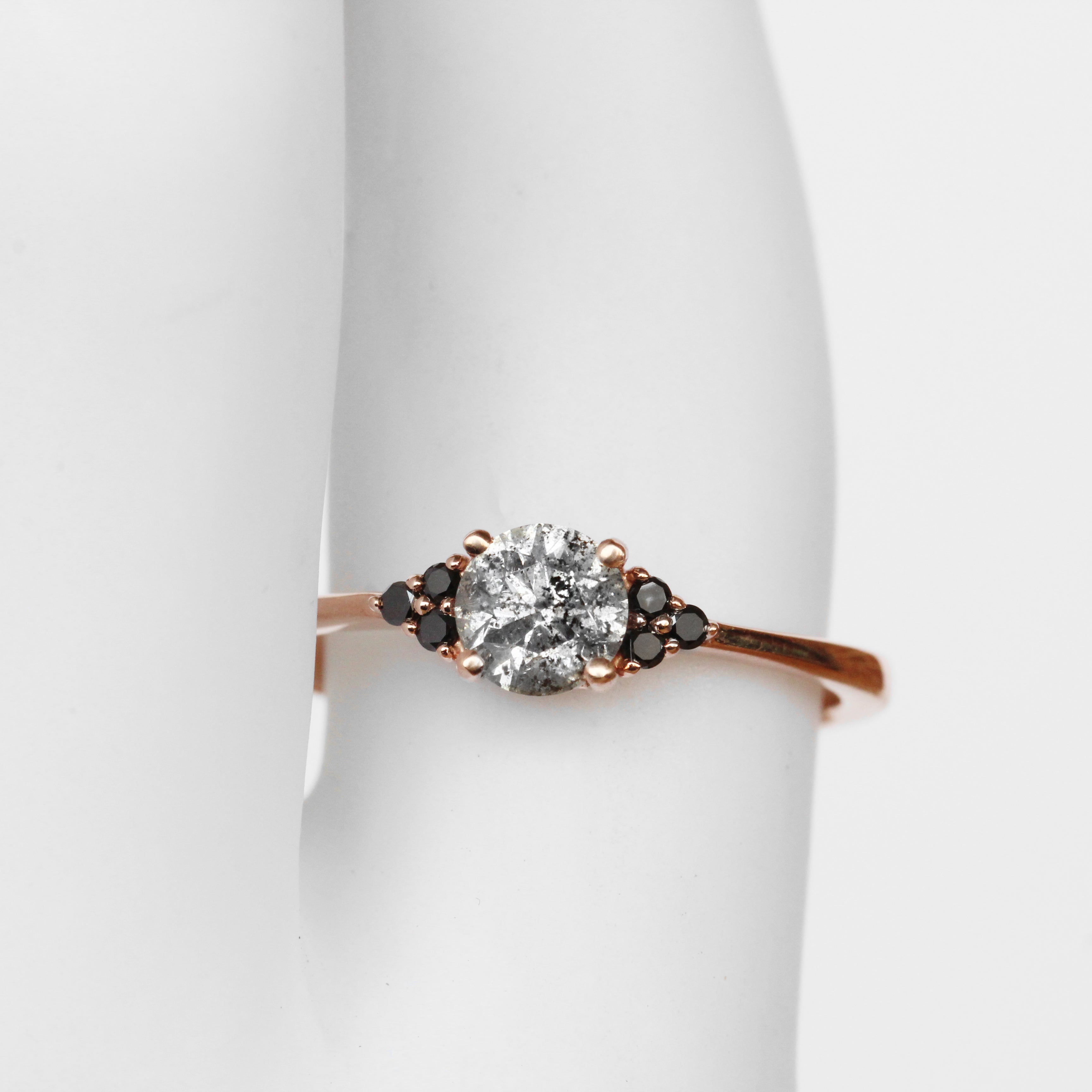 Imogene Ring with Celestial Diamond and Black Diamonds in 10k Rose Gold - Ready to size and ship