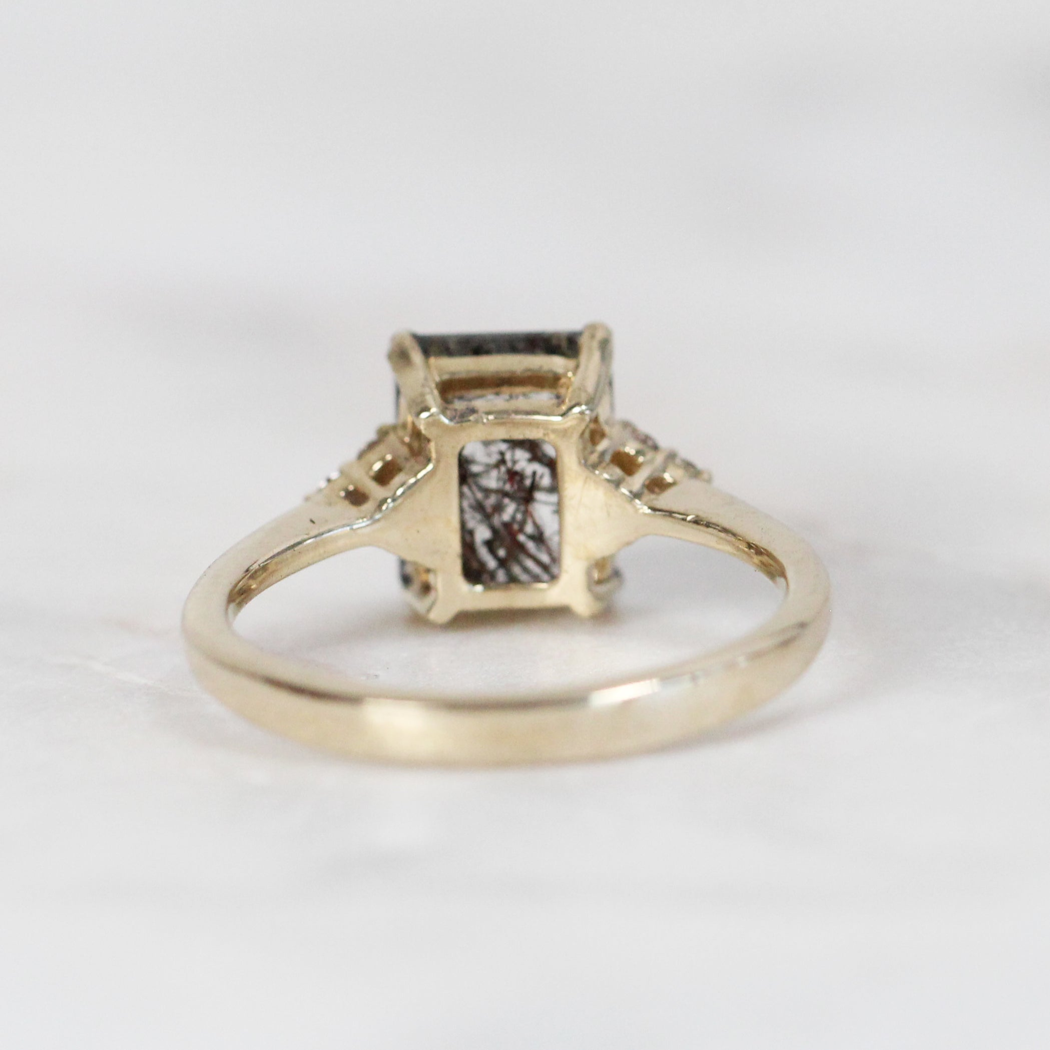Imogene Ring with Tourmalinated Quartz in 10k Yellow Gold Setting - Ready to size and ship - Celestial Diamonds ® by Midwinter Co.