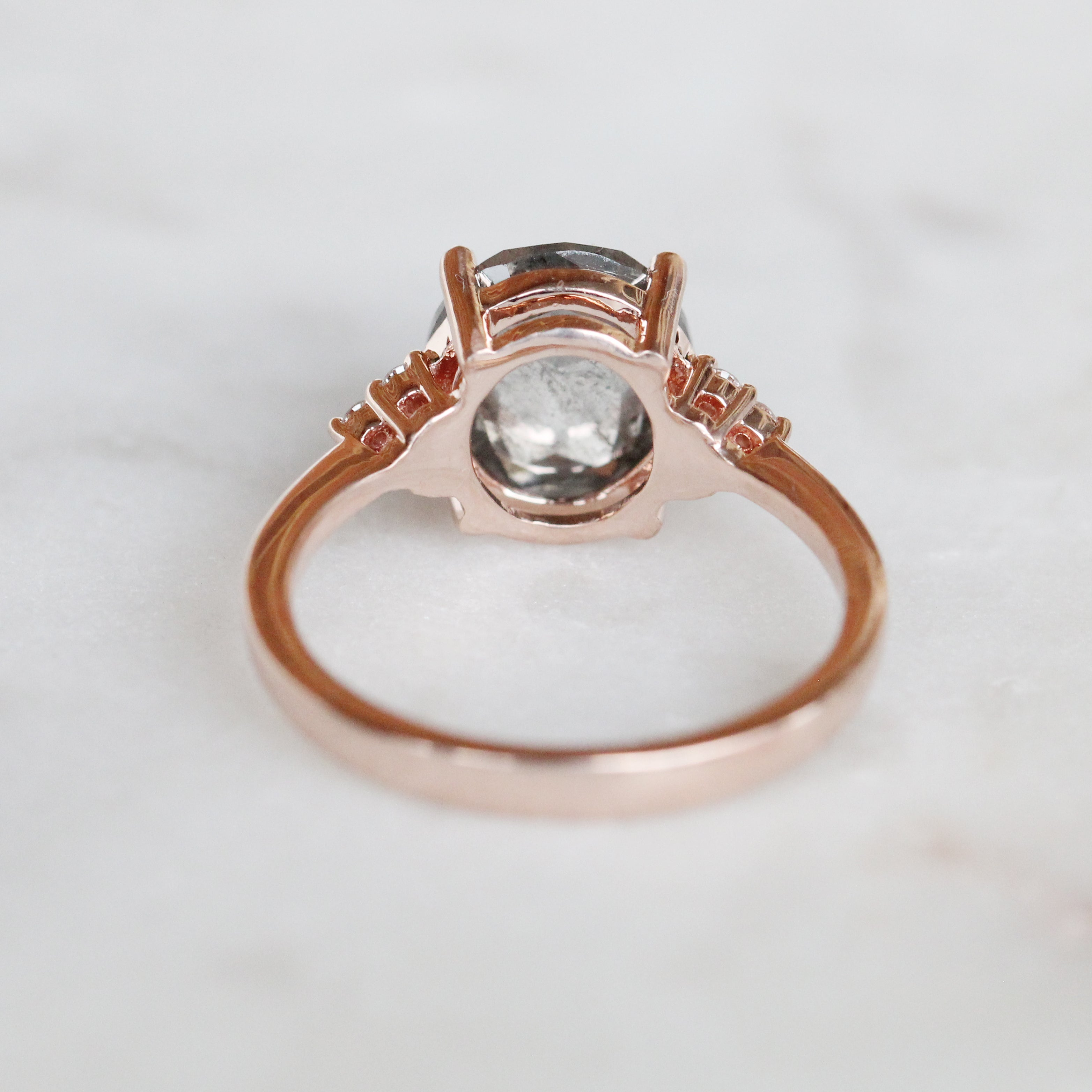 Imogene Ring with a 3.16 Carat Rose Cut Oval Celestial Diamond and Six 1.5mm Clear Accents in 10k Rose Gold - Ready to Size and Ship - Salt & Pepper Celestial Diamond Engagement Rings and Wedding Bands  by Midwinter Co.