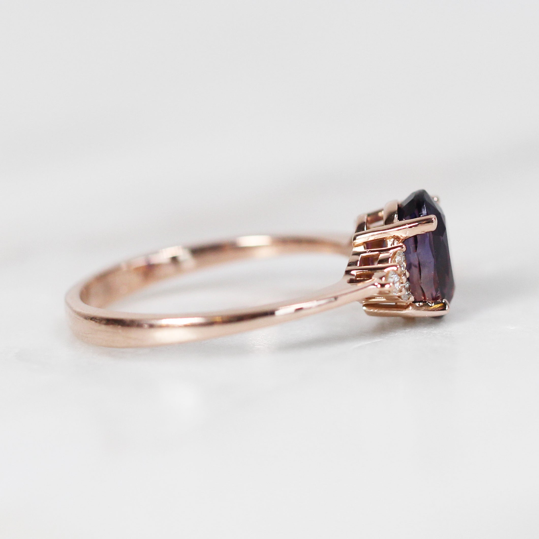 Imogene Ring with 2.10 Carat Oval Purple Sapphire in 10k Rose Gold - Ready to Size and Ship - Celestial Diamonds ® by Midwinter Co.