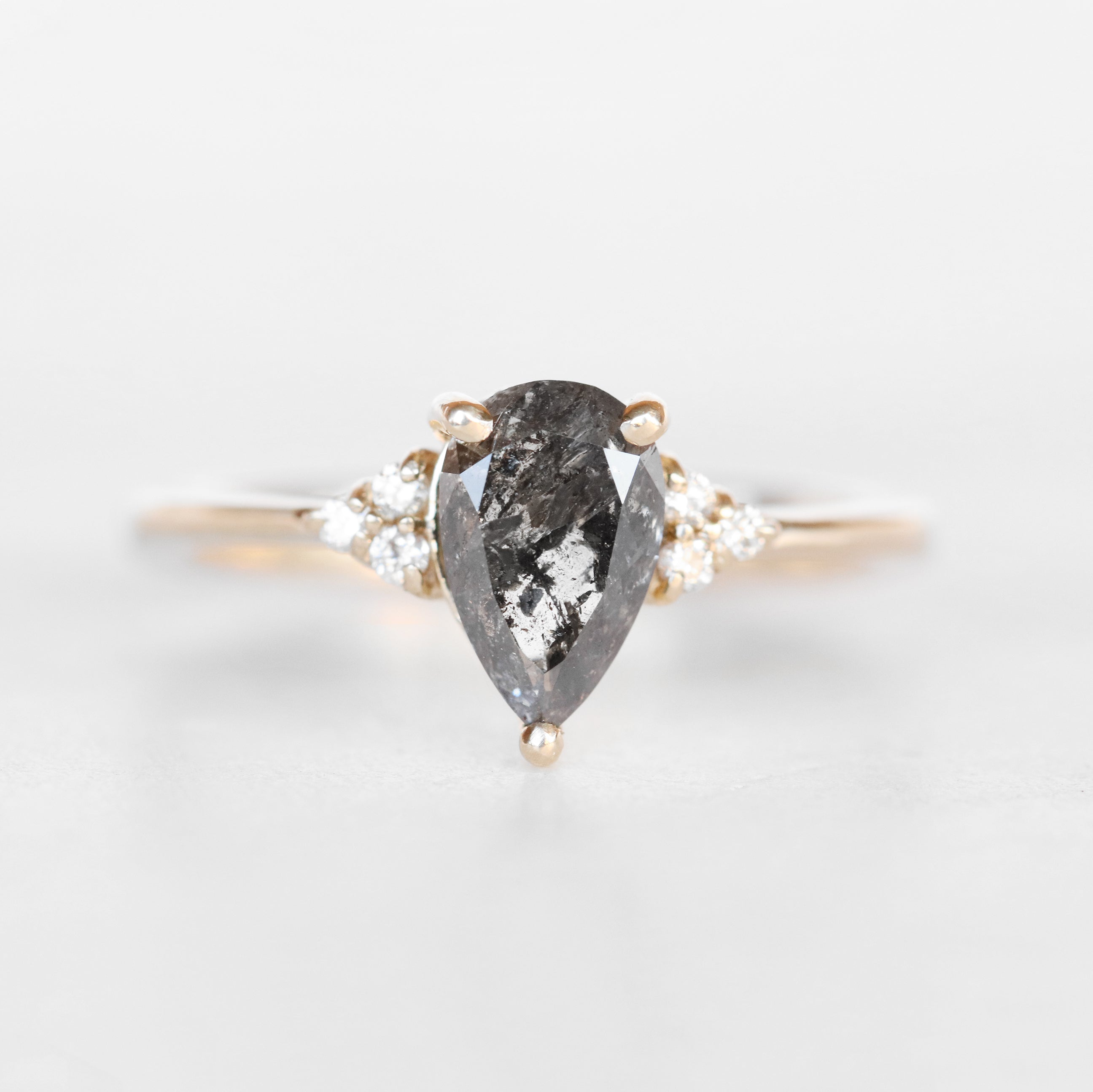 Imogene Ring with a 1.27 Carat Pear Celestial Diamond and Six 1.3mm Accent Stones in 14k Yellow Gold - Ready to Size and Ship - Midwinter Co. Alternative Bridal Rings and Modern Fine Jewelry