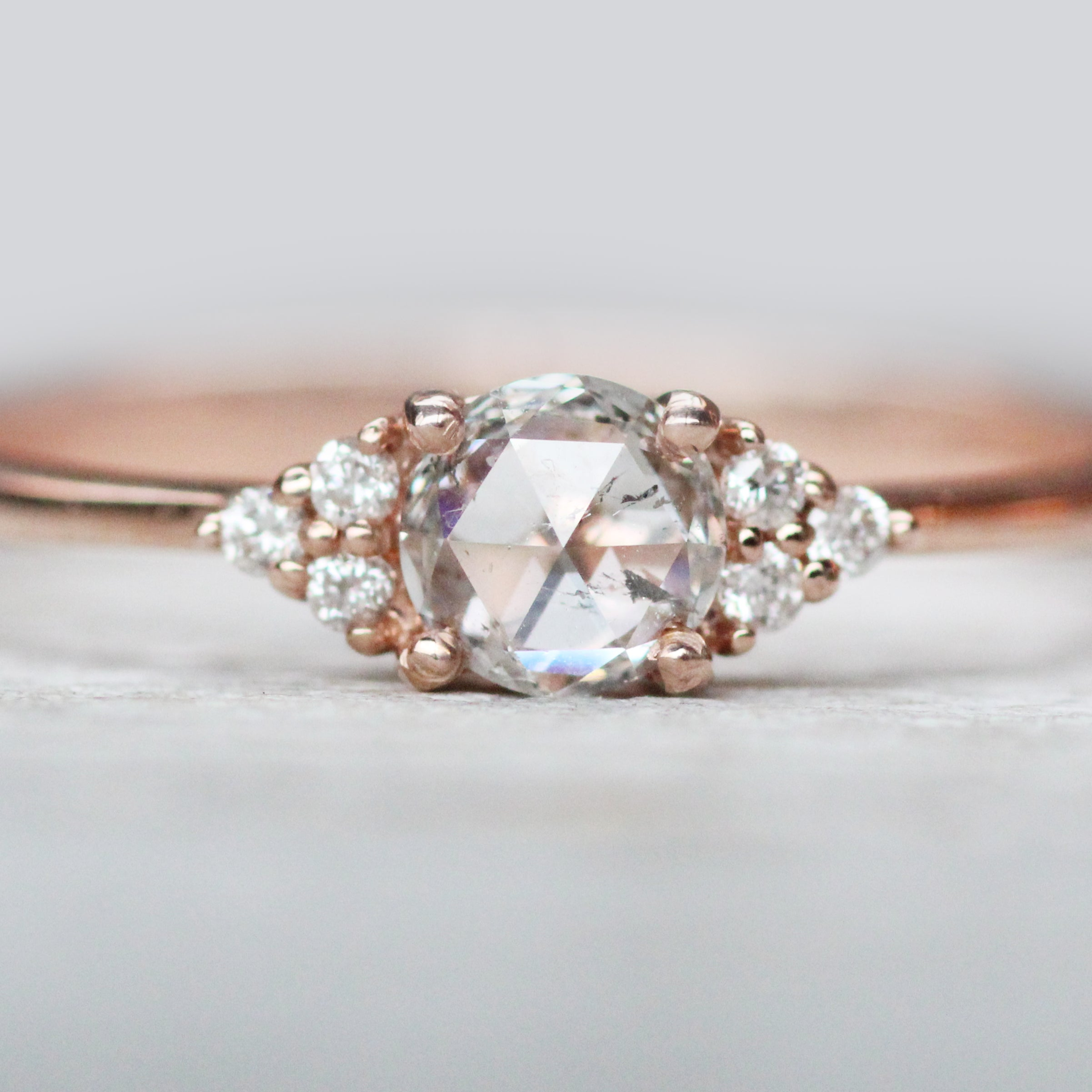 Imogene with clear rose cut diamond and accent diamonds in 10k rose gold - ready to size and ship