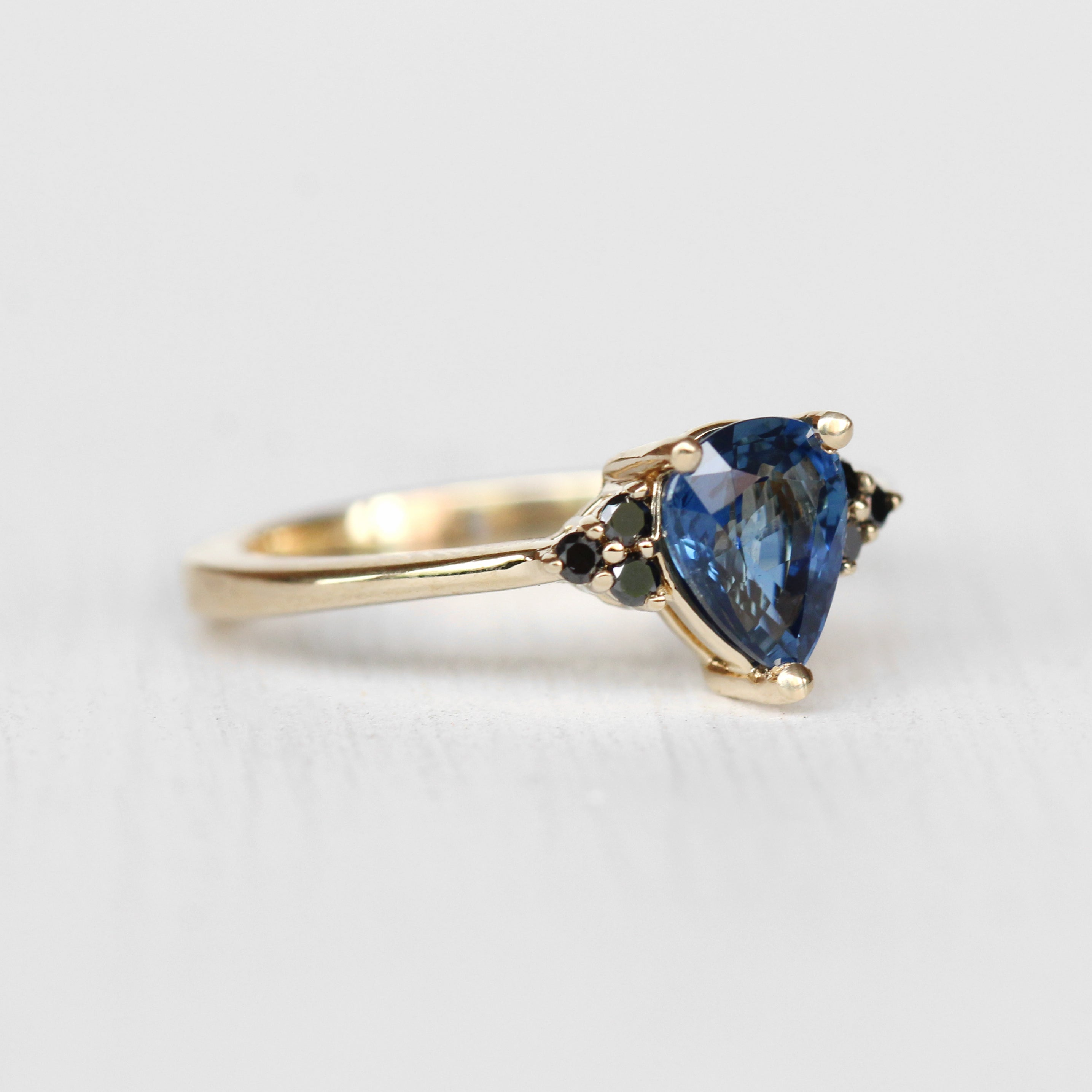 Imogene Ring with Blue Sapphire and Black Diamonds in 14k Yellow Gold - Ready to size and ship