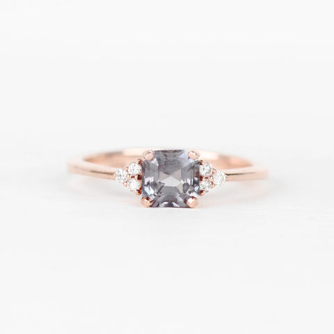 Imogene Ring with Pale Blue-Gray Spinel and Clear Diamond Accents - 10k Rose Gold - ready to size and ship