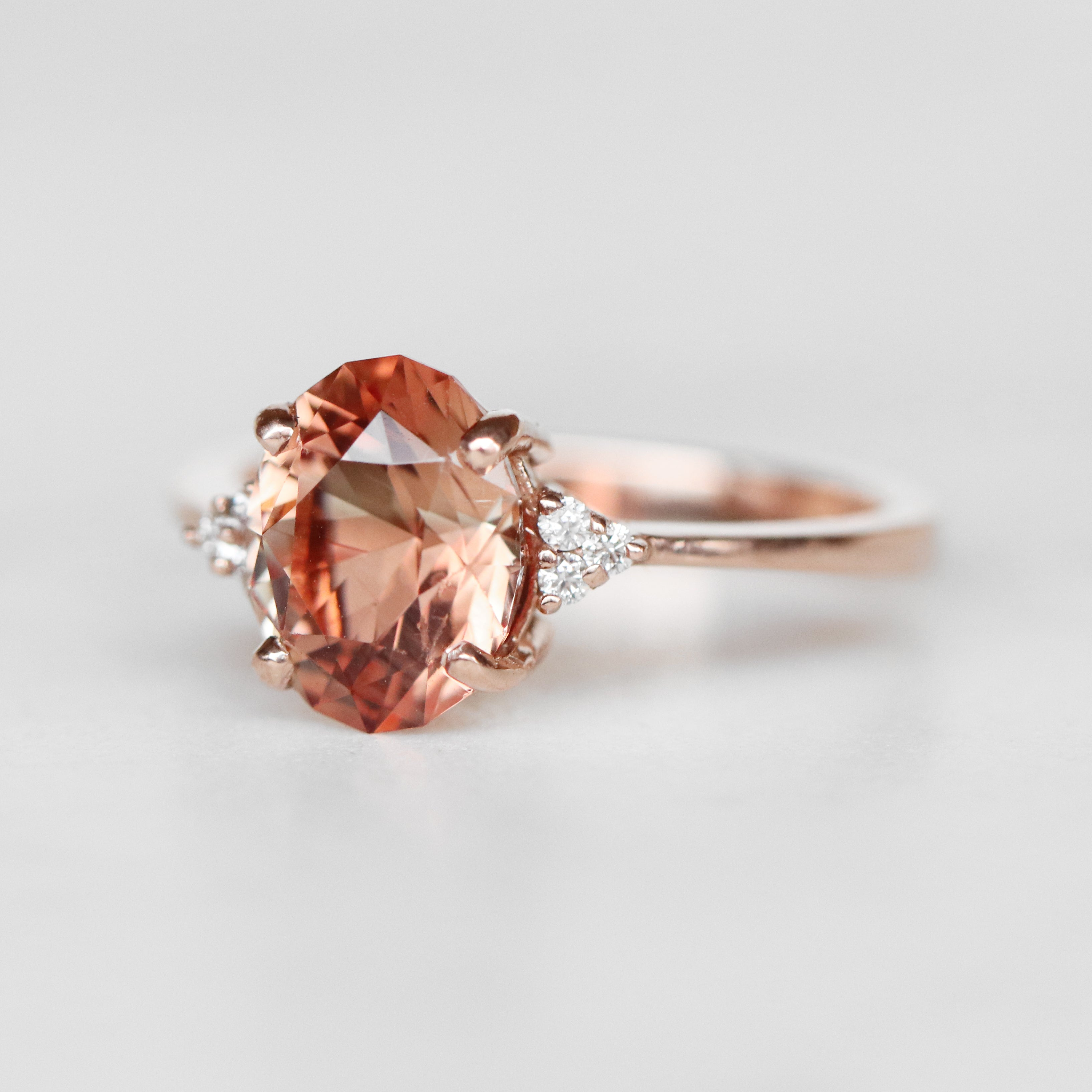 Imogene Ring with a 2.37 Carat Oval Sunstone and Clear Diamond Accents in 14k Rose Gold - Ready to Size and Ship - Salt & Pepper Celestial Diamond Engagement Rings and Wedding Bands  by Midwinter Co.