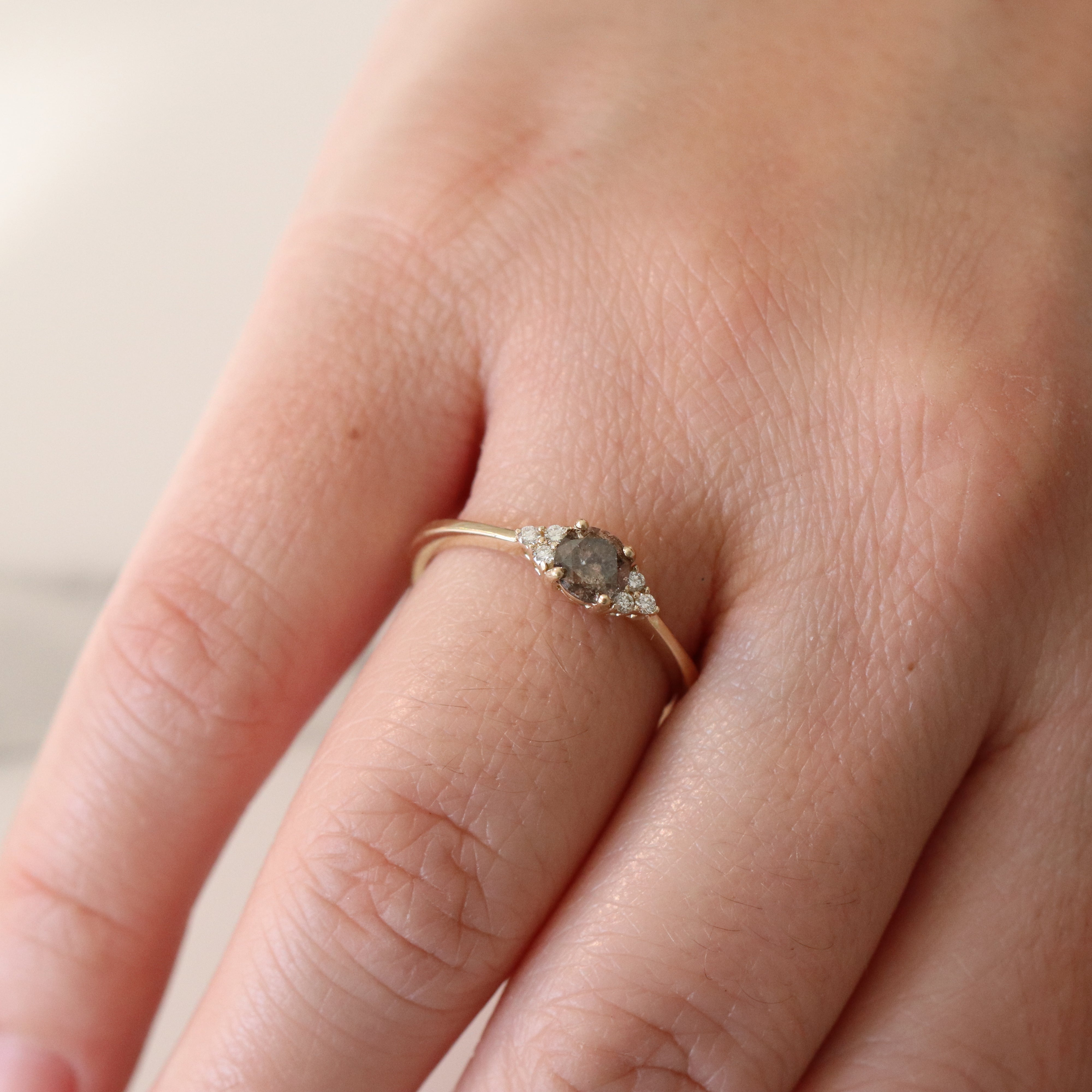 Imogene Ring with a .48 Carat Celestial Diamond in 10k Yellow Gold - Ready to Size and Ship - Salt & Pepper Celestial Diamond Engagement Rings and Wedding Bands  by Midwinter Co.