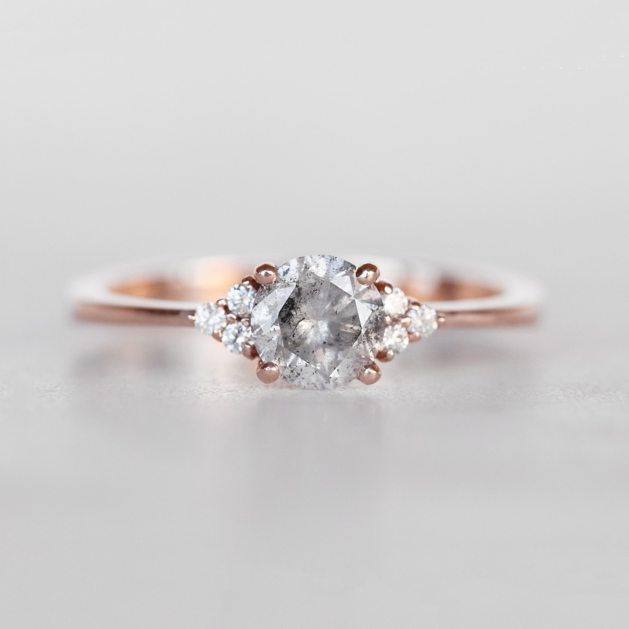 Imogene Ring with a .70 Carat Celestial Diamond and Six White Accents in 10k Rose Gold - Ready to Size and Ship - Salt & Pepper Celestial Diamond Engagement Rings and Wedding Bands  by Midwinter Co.