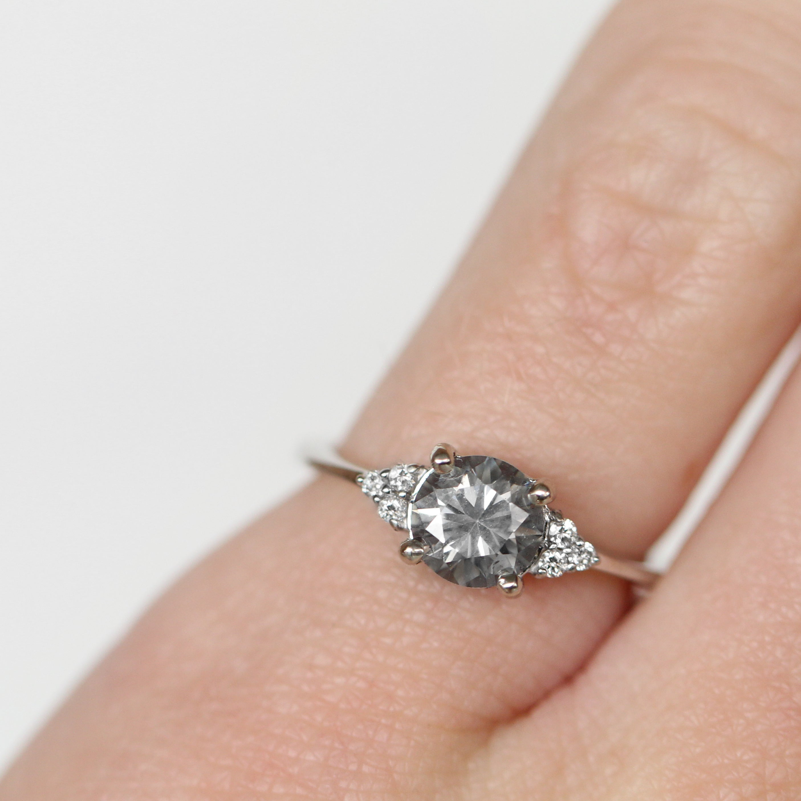 Imogene Ring with a 0.70 Carat Moissanite in 10k White Gold- Ready to Size and Ship - Celestial Diamonds ® by Midwinter Co.