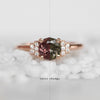 Isabella ring with 1.30 ct Rare color change Garnet and Diamonds in 14k rose gold - ready to size and ship - Celestial Diamonds ® by Midwinter Co.